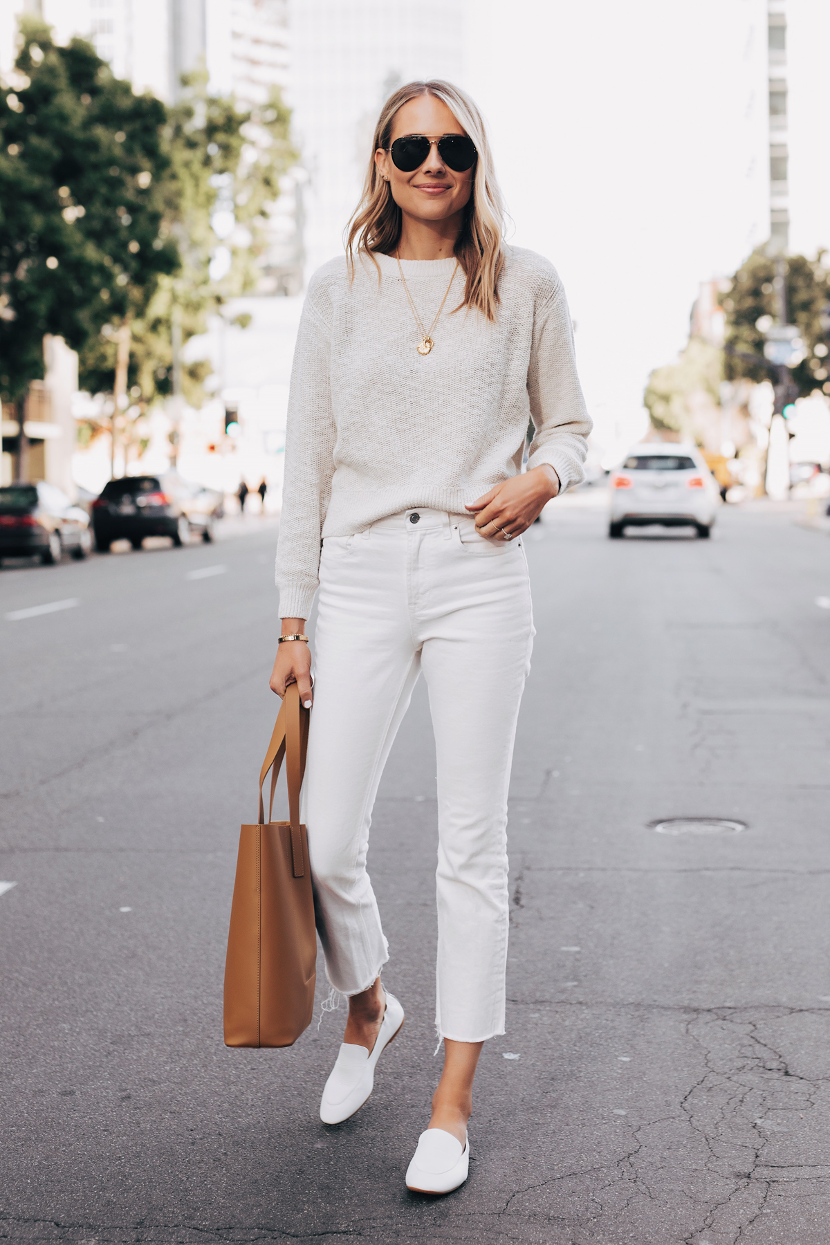 Blonde Woman Wearing Everlane Sand Cotton Linen Crew White Cropped Jeans White Day Loafer Tan Tote Fashion Jackson San Diego Fashion Blogger Street Style