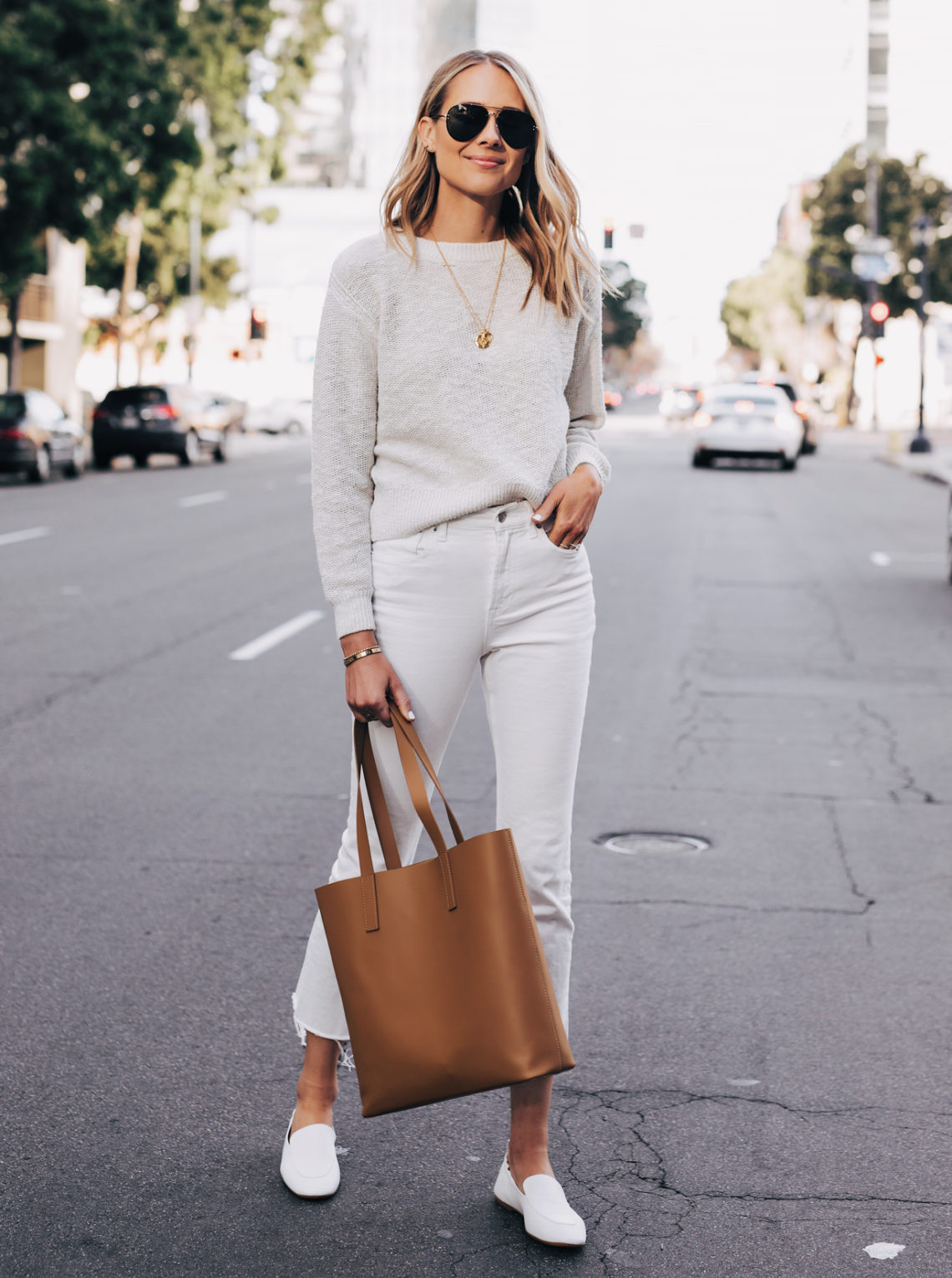 Blonde Woman Wearing Everlane Sand Cotton Linen Crew White Cropped Jeans White Day Loafer Tan Tote Featured Image Fashion Jackson San Diego Fashion Blogger Street Style