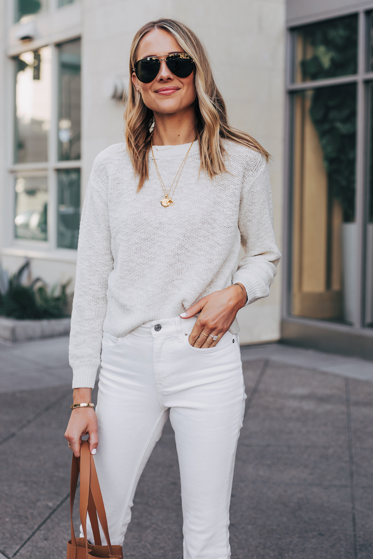 Blonde Woman Wearing Everlane Sand Cotton Linen Sweater White Jeans Gold Necklaces Fashion Jackson San Diego Fashion Blogger Street Style