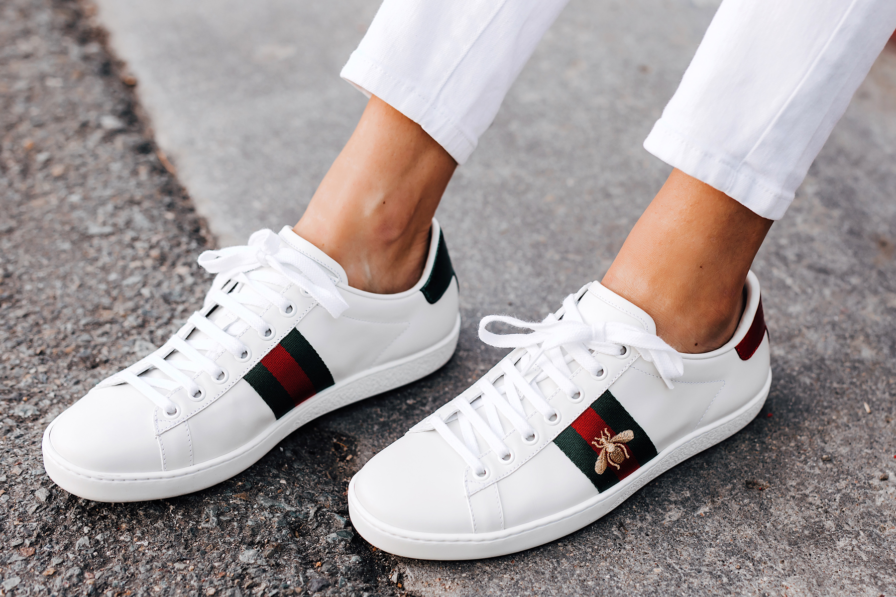 Woman Wearing Gucci Ace Embroidered Sneakers Fashion Jackson San Diego Fashion Blogger Street Style