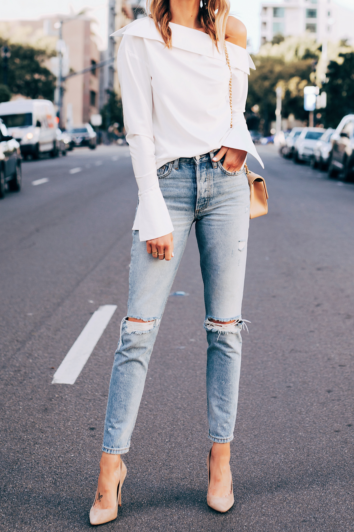 Blonde Woman Wearing Jing White off the Shoulder Top Denim Ripped Jeans Nude Pumps Fashion Jackson San Diego Fashion Blogger Street Style