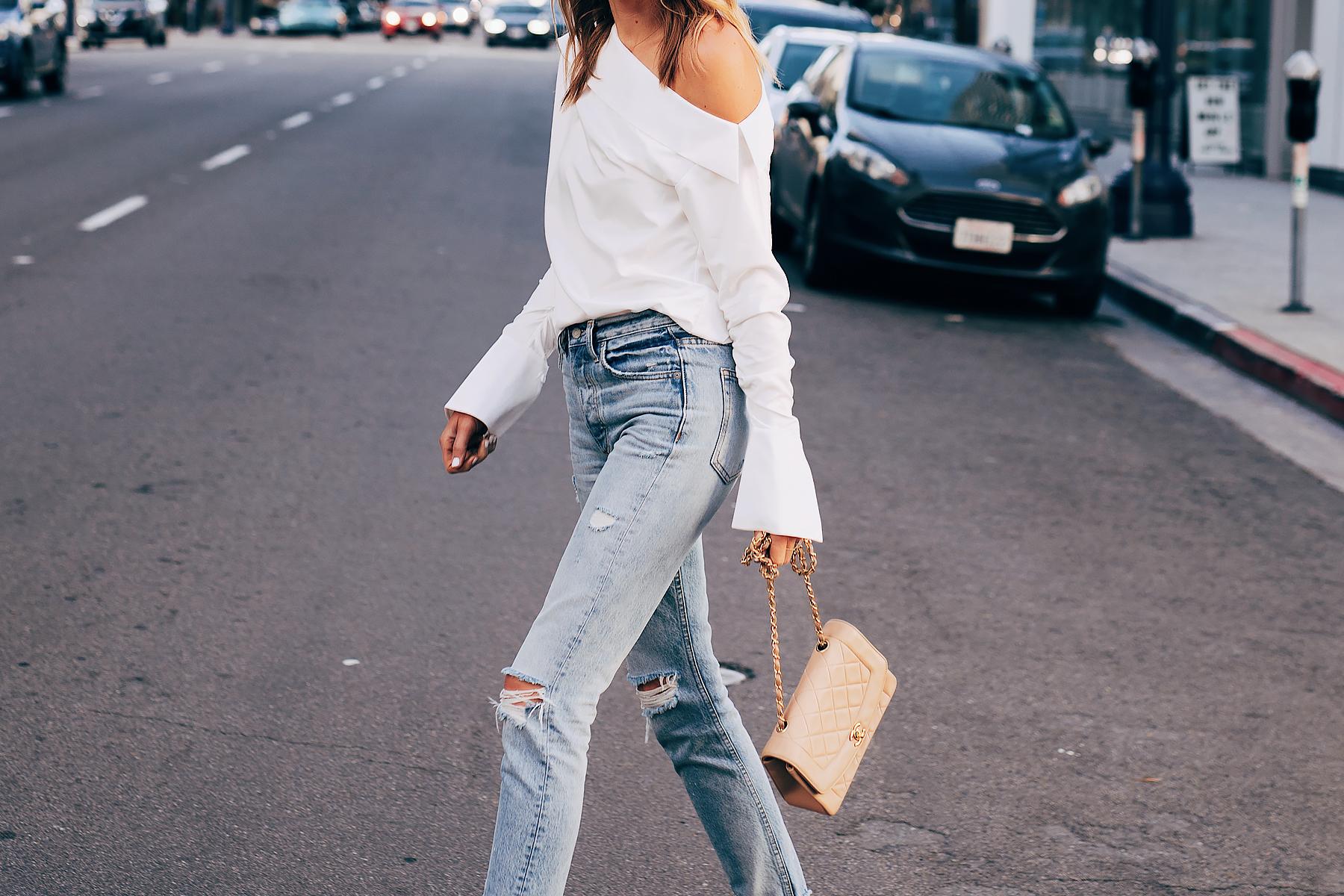 Woman Wearing Jing White off the Shoulder Top Denim Ripped Jeans Tan Handbag Fashion Jackson San Diego Fashion Blogger Street Style