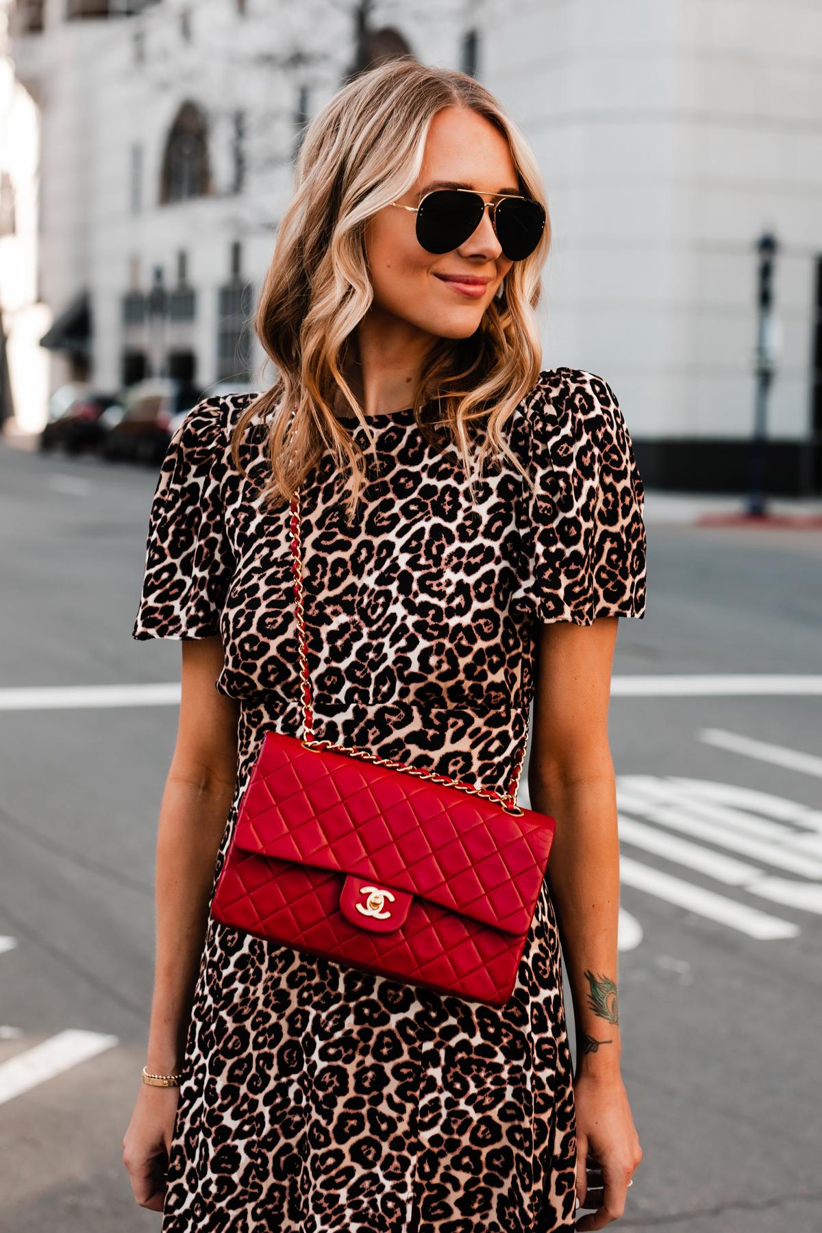 Blonde Woman Wearing Leopard Dress Red Chanel Handbag Fashion Jackson San Diego Fashion Blogger Street Style