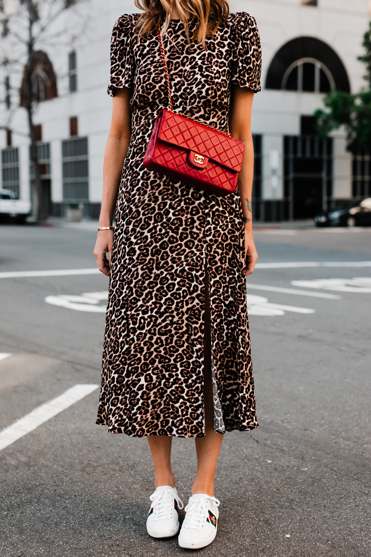 Woman Wearing Leopard Maxi Dress Red Chanel Handbag Gucci Ace Embroidered Sneakers Fashion Jackson San Diego Fashion Blogger Street Style