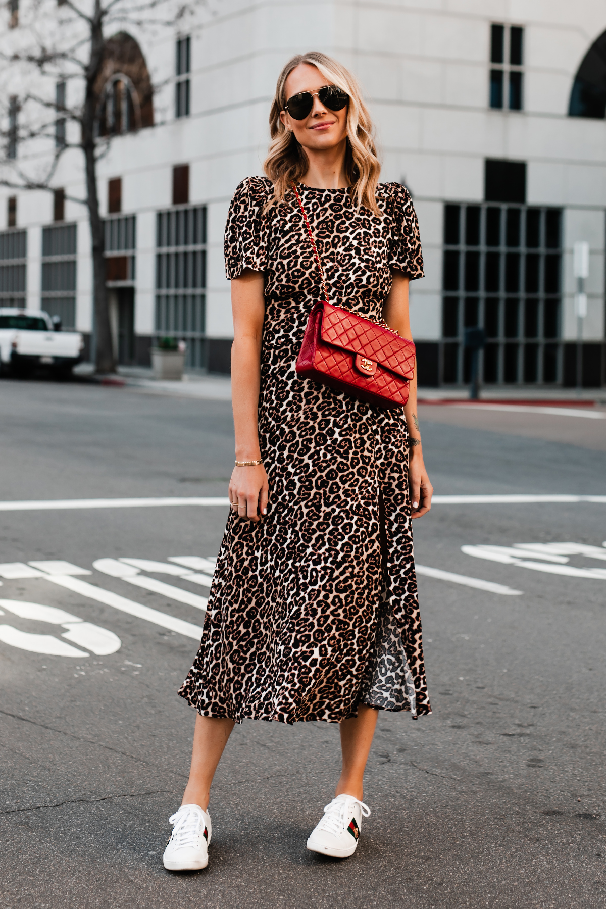 Blonde Woman Wearing Leopard Maxi Dress Red Chanel Handbag Gucci Ace Embroidered Sneakers Fashion Jackson San Diego Fashion Blogger Street Style