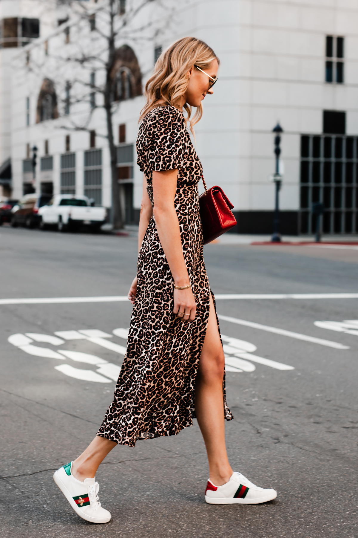 Blonde Woman Wearing Leopard Maxi Dress Red Handbag Gucci Ace Embroidered Sneakers Fashion Jackson San Diego Fashion Blogger Street Style