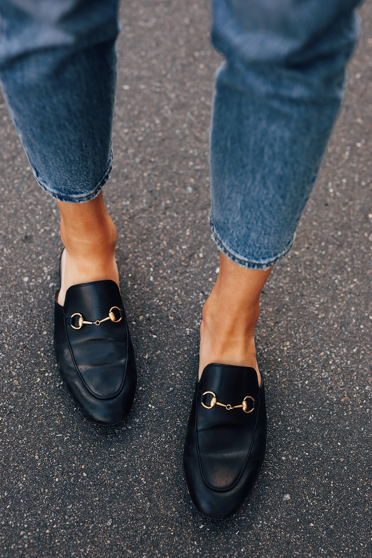 87032c450 Woman Wearing Levis 501 Jeans Gucci Princetown Mules Black Fashion Jackson  San Diego Fashion Blogger Street