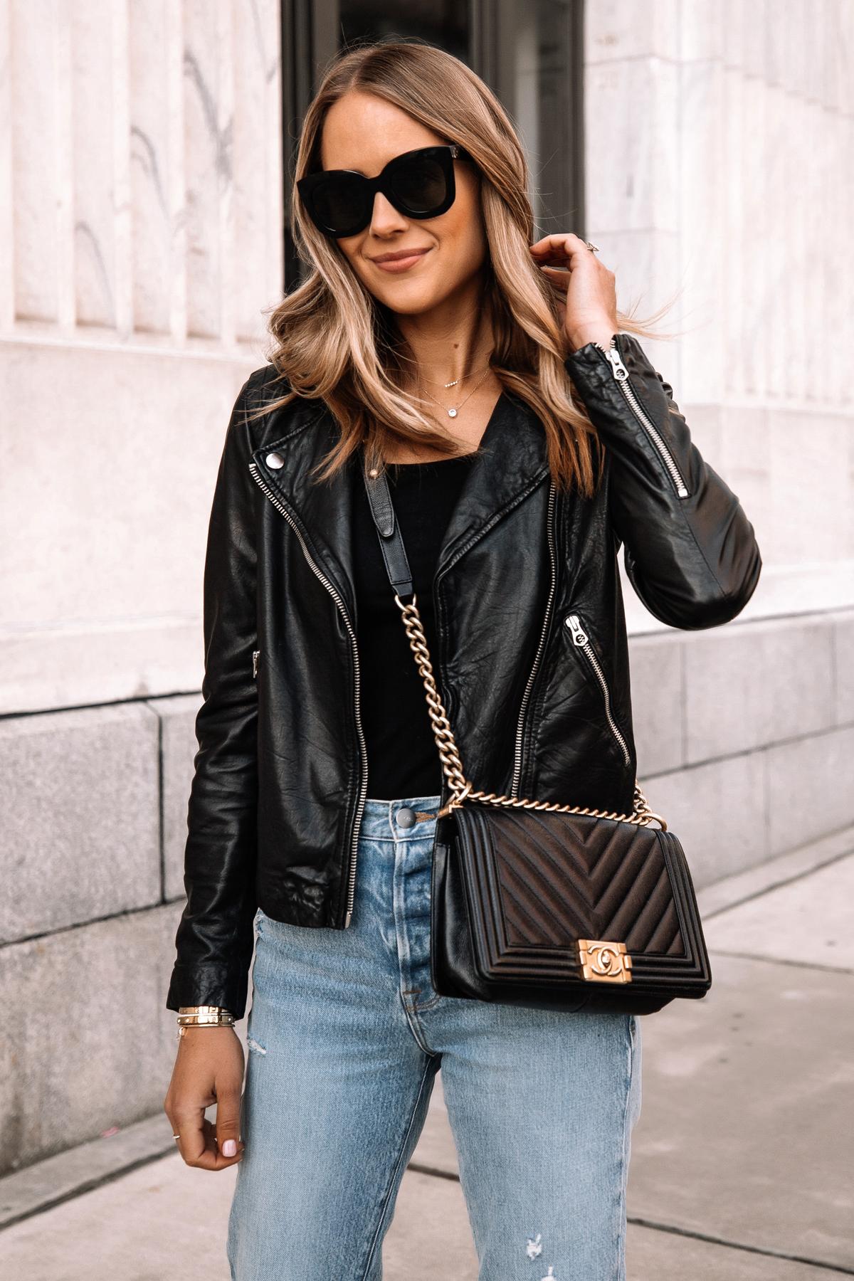 Fashion Jackson Wearing Madewell Black Leather Jacket Denim Jeans Chanel Black Boy Bag 1