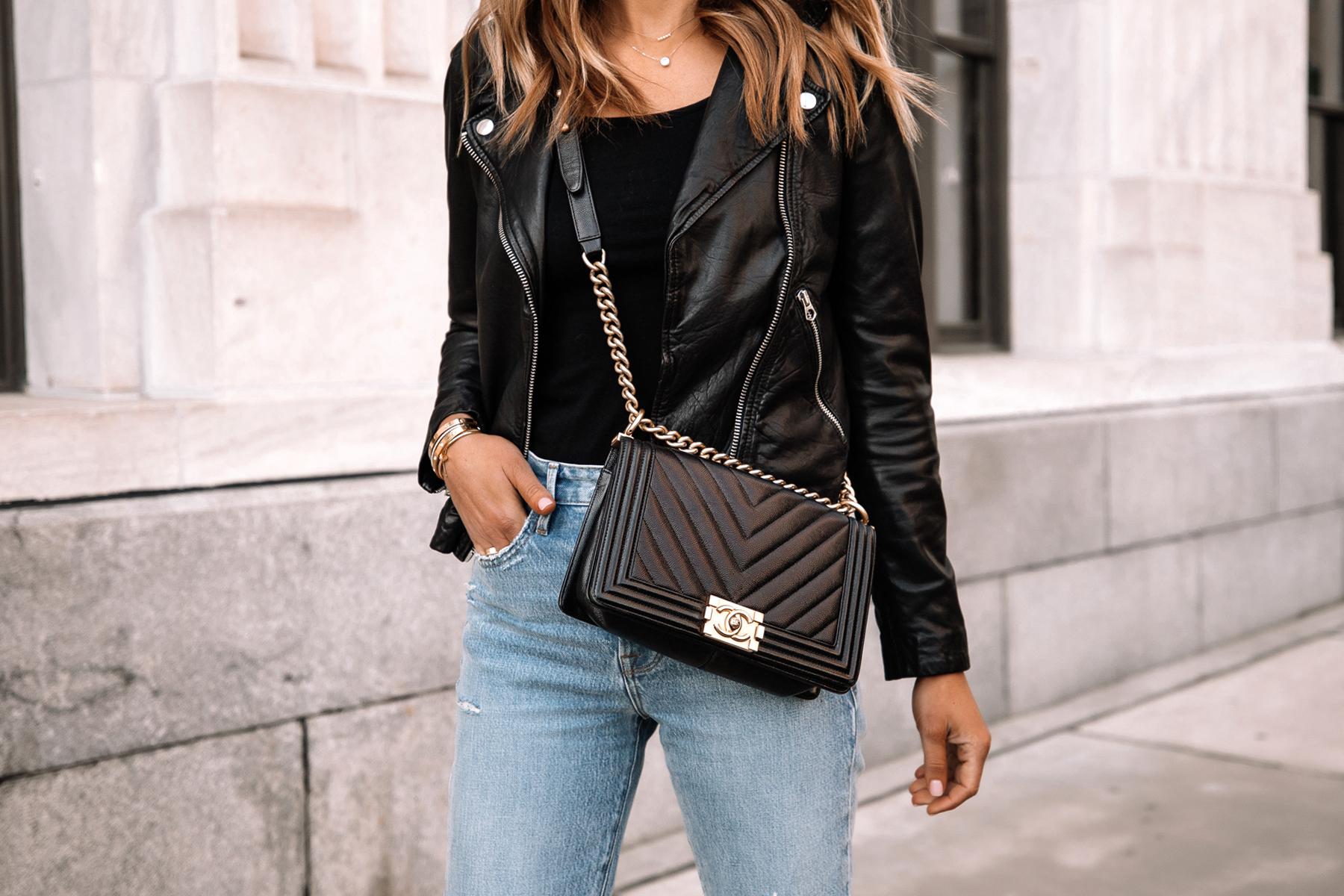 Fashion Jackson Wearing Madewell Black Leather Jacket Denim Jeans Chanel Black Boy Bag
