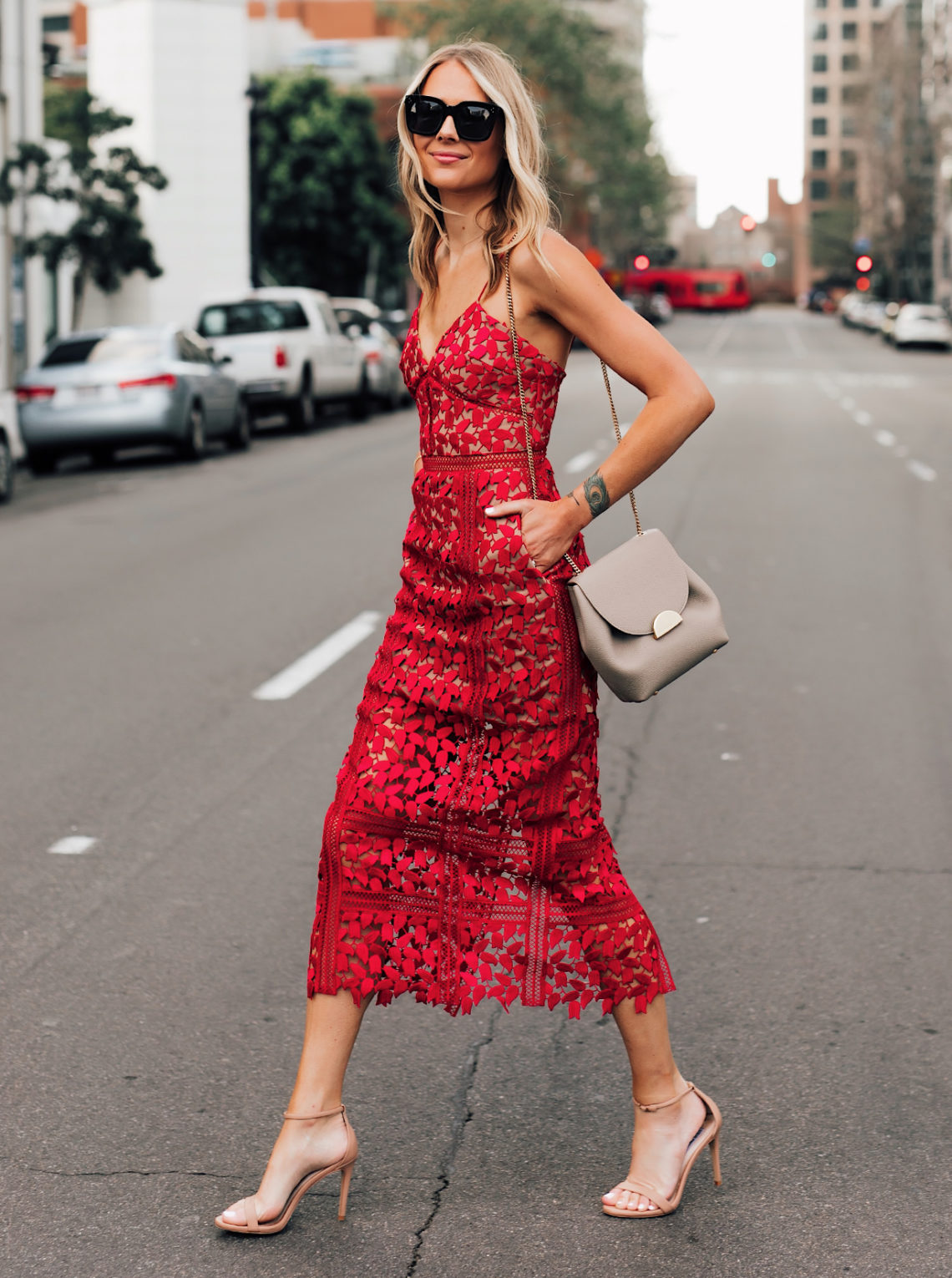 Fashion Jackson Wearing Self Portrait Arabella Red Floral Lace Midi Dress Nude Ankle Strap Heeled Sandals Polene Mini Grey Handbag Featured Image