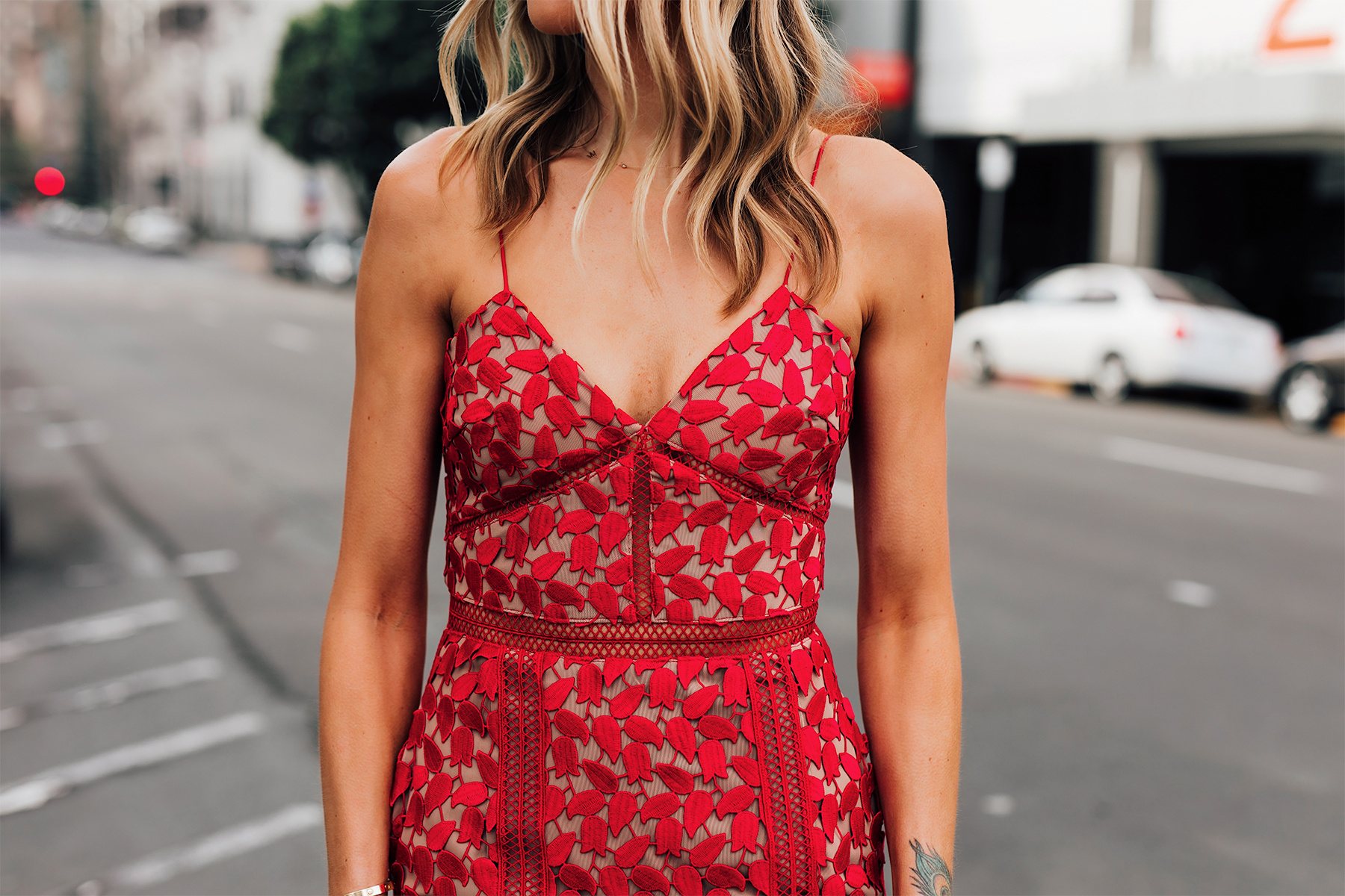 Blonde Woman Wearing Self Portrait Arabella Red Floral Lace Midi Dress Fashion Jackson San Diego Fashion Blogger Street Style