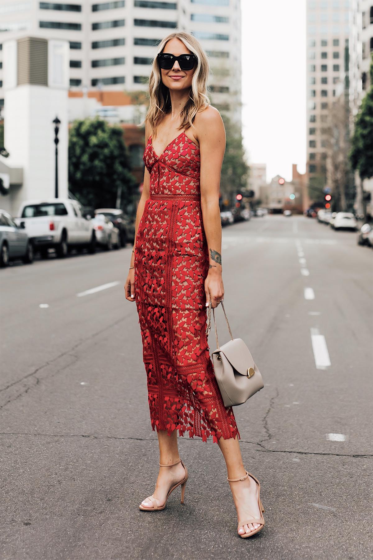 Blonde Woman Wearing Self Portrait Arabella Red Lace Midi Dress Nude Ankle Strap Heeled Sandals Polene Mini Grey Handbag Fashion Jackson San Diego Fashion Blogger Street Style