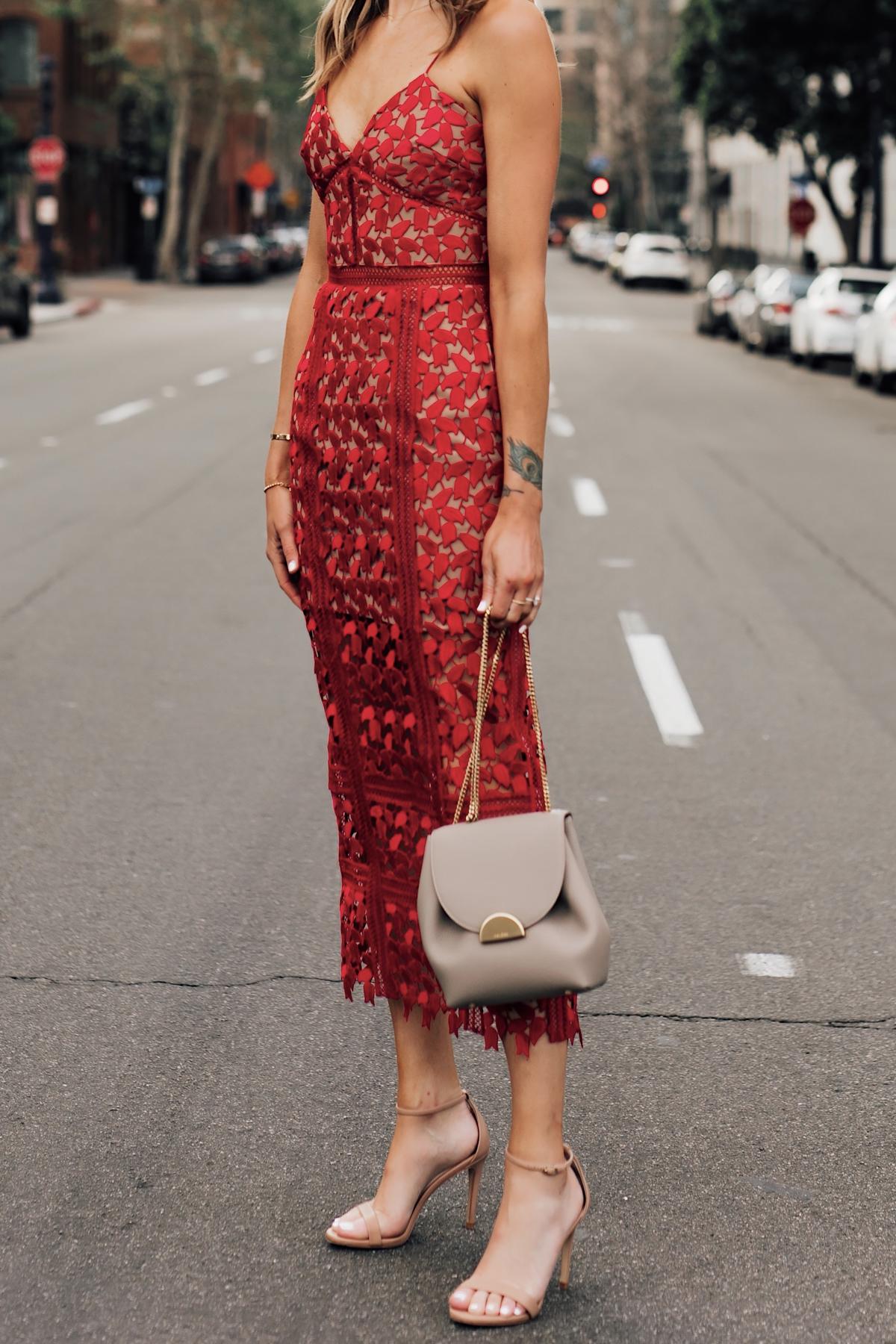 Woman Wearing Self Portrait Arabella Red Lace Midi Dress Polene Mini Grey Handbag Fashion Jackson San Diego Fashion Blogger Street Style