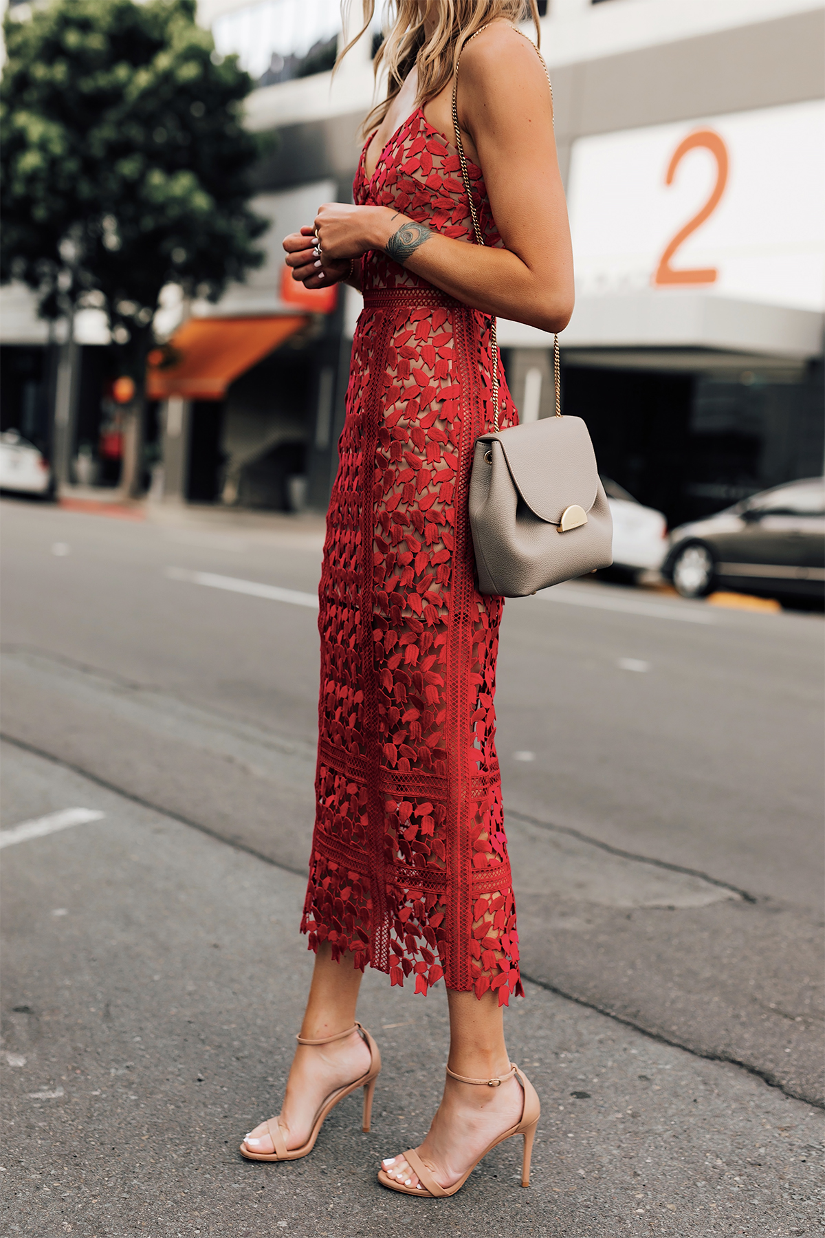 Blonde Woman Wearing Self Portrait Arabella Red Lace Midi Dress Polene Mini Grey Handbag Nude Ankle Strap Heels Fashion Jackson San Diego Fashion Blogger Street Style