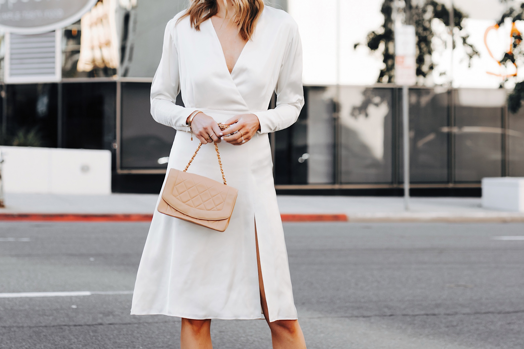 Woman Wearing Tommy Hilfiger White Wrap Dress Chanel Beige Diana Handbag Fashion Jackson San Diego Fashion Blogger Street Style