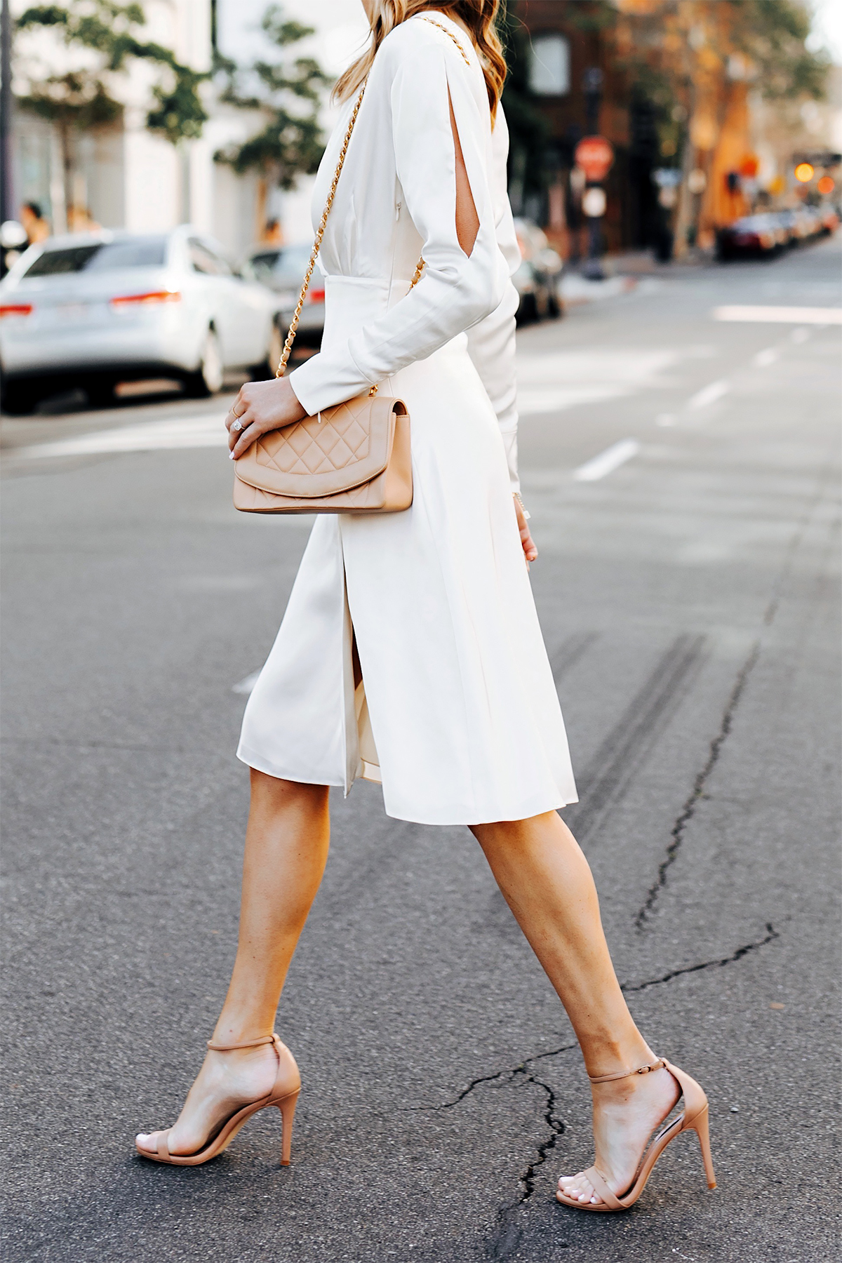 Woman Wearing Tommy Hilfiger White Wrap Dress Chanel Beige Diana Handbag Nude Ankle Strap Heeled Sandals Fashion Jackson San Diego Fashion Blogger Street Style