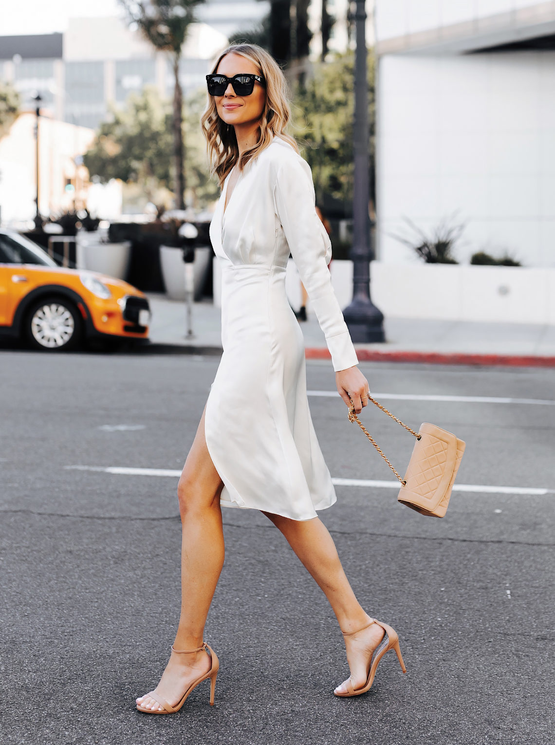 Fashion Jackson Wearing Tommy Hilfiger White Wrap Dress Chanel Beige Diana Handbag Nude Ankle Strap Heeled Sandals
