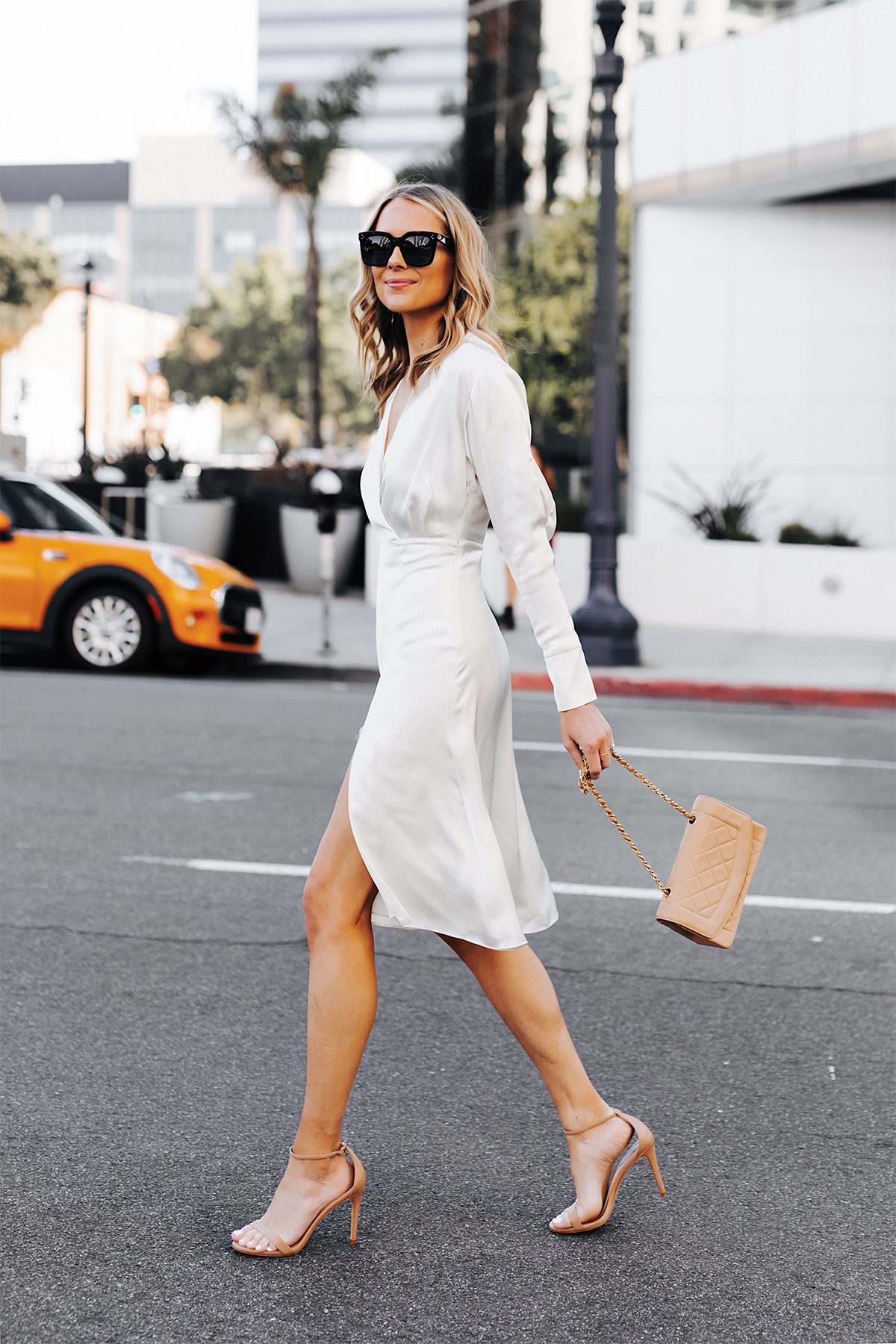 Blonde Woman Wearing Tommy Hilfiger White Wrap Dress Chanel Beige Diana Handbag Nude Ankle Strap Heeled Sandals Fashion Jackson San Diego Fashion Blogger Street Style