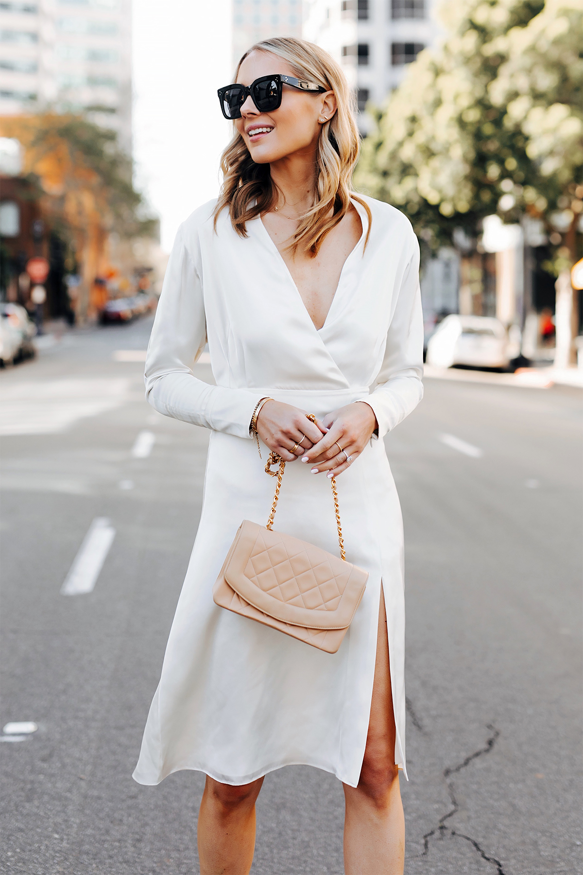 Blonde Woman Wearing Tommy Hilfiger White Wrap Dress Chanel Beige Diana Handbag Fashion Jackson San Diego Fashion Blogger Street Style