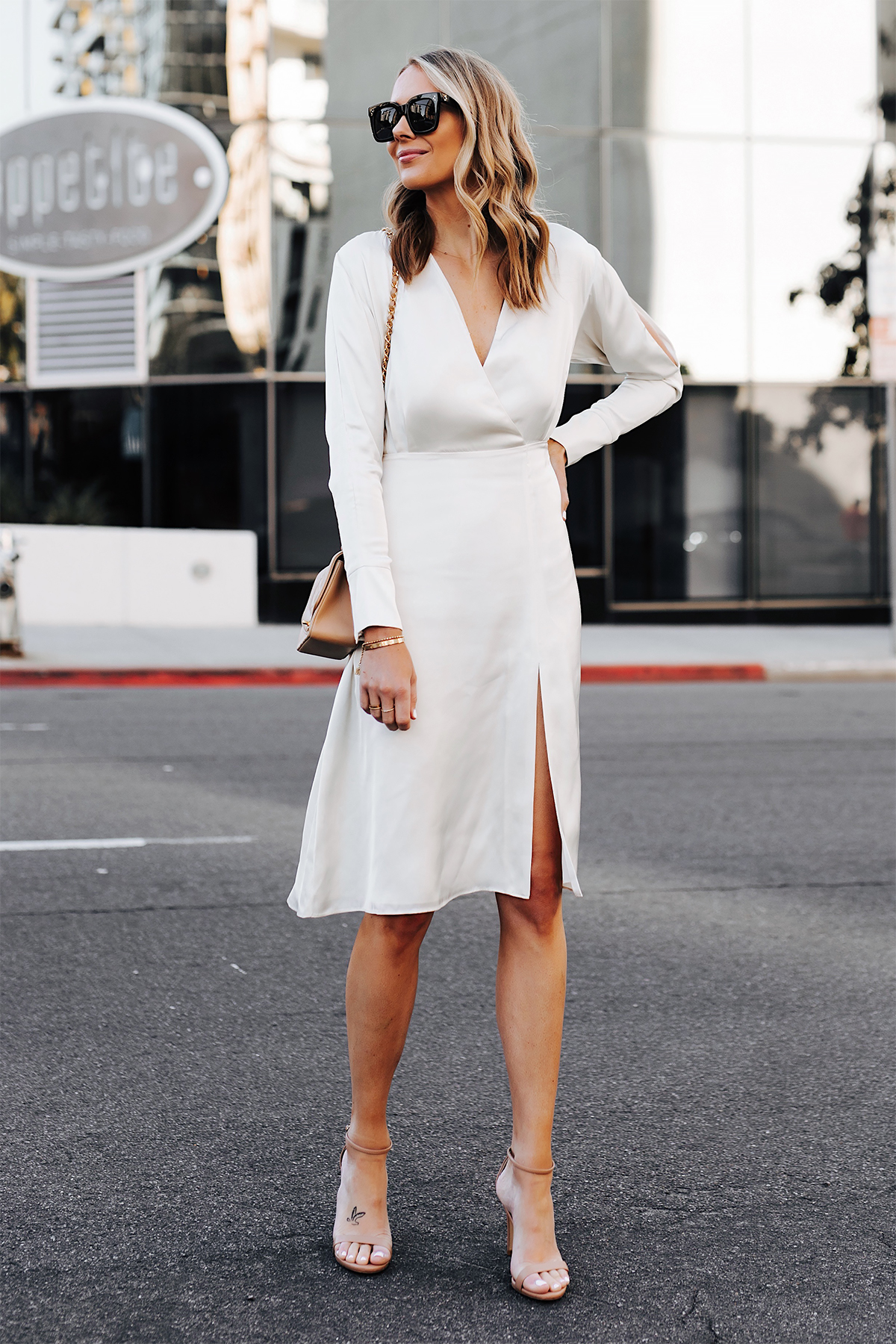 Blonde Woman Wearing Tommy Hilfiger White Wrap Dress Nude Ankle Strap Heeled Sandals Fashion Jackson San Diego Fashion Blogger Street Style
