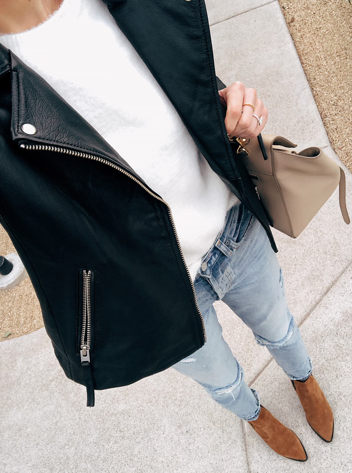 Fashion Jackson Wearing Topshop Black Leather Jacket White Top Boyfriend Jeans Brown Booties