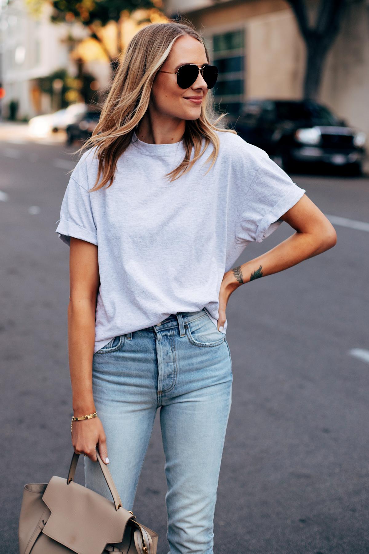 Blonde Woman Wearing Topshop Grey Tshirt Boyish High Rise Skinny Jeans Celine Mini Belt Bag Fashion Jackson San Diego Fashion Blogger Street Style