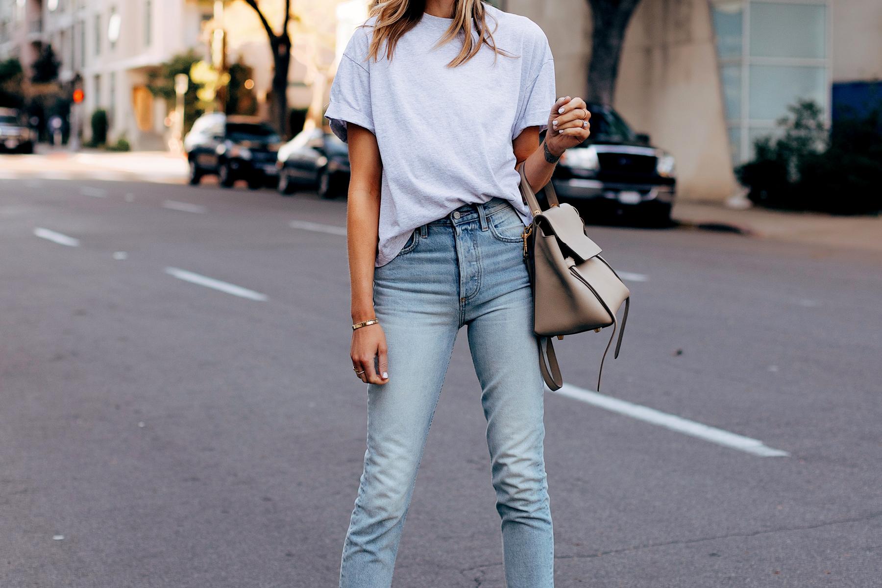 Woman Wearing Topshop Grey Tshirt Boyish High Rise Skinny Jeans Celine Mini Belt Bag Fashion Jackson San Diego Fashion Blogger Street Style