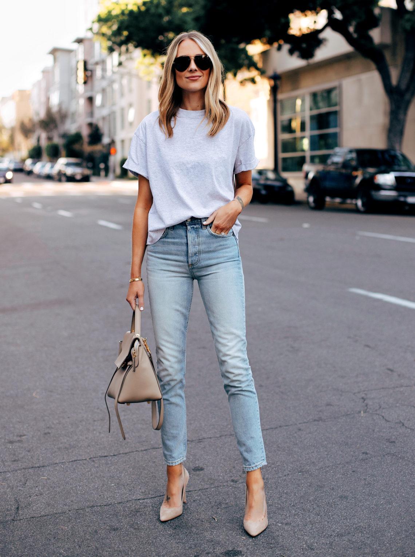 Blonde Woman Wearing Topshop Grey Tshirt Boyish High Rise Skinny Jeans Jimmy Choo Beige Romy Pumps Featured Image Fashion Jackson San Diego Fashion Blogger Street Style