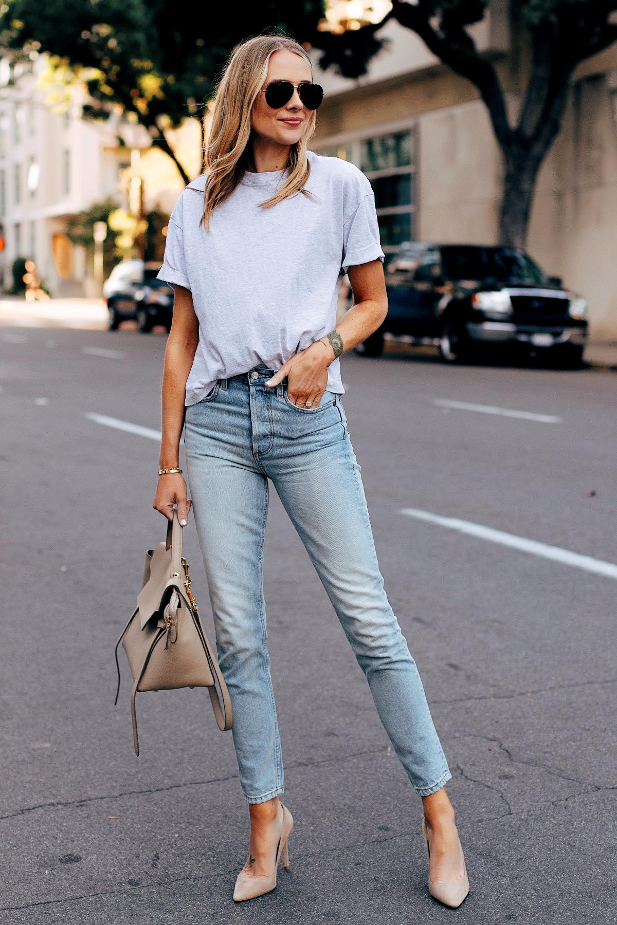 Blonde Woman Wearing Topshop Grey Tshirt Boyish High Rise Skinny Jeans Jimmy Choo Beige Romy Pumps Fashion Jackson San Diego Fashion Blogger Street Style