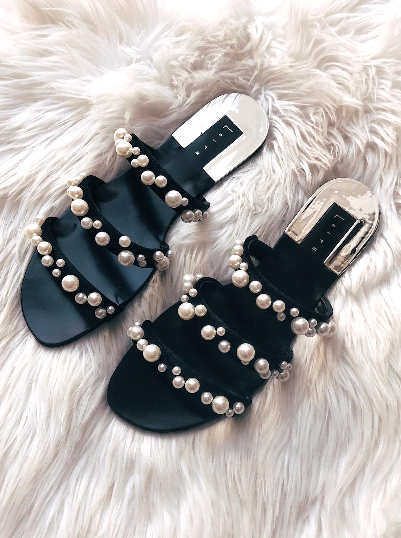 Leith Pearl Embellished Black Sandals
