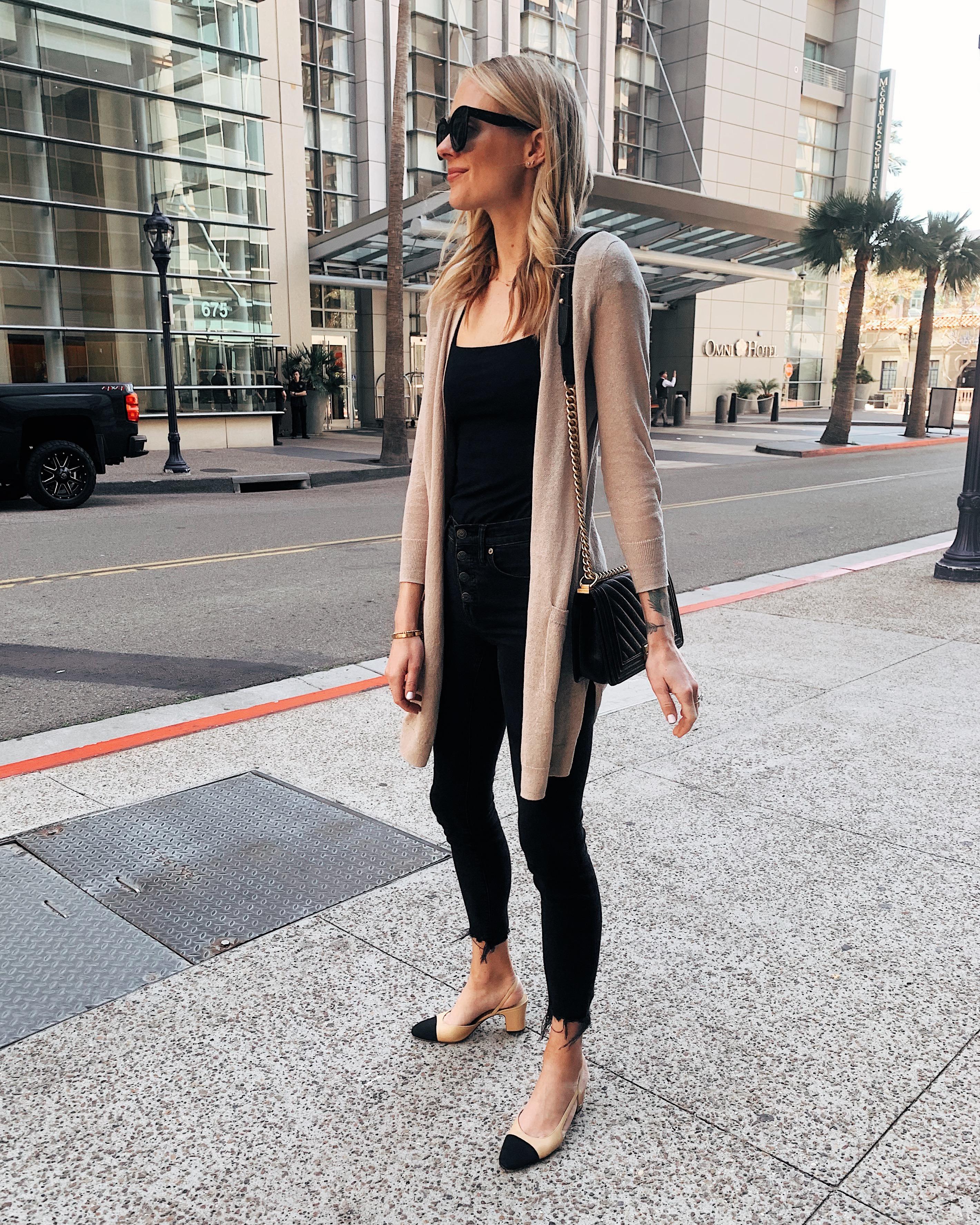 Fashion Jackson Wearing Beige Cardigan Black Top Black Skinny Jeans Chanel Slingbacks