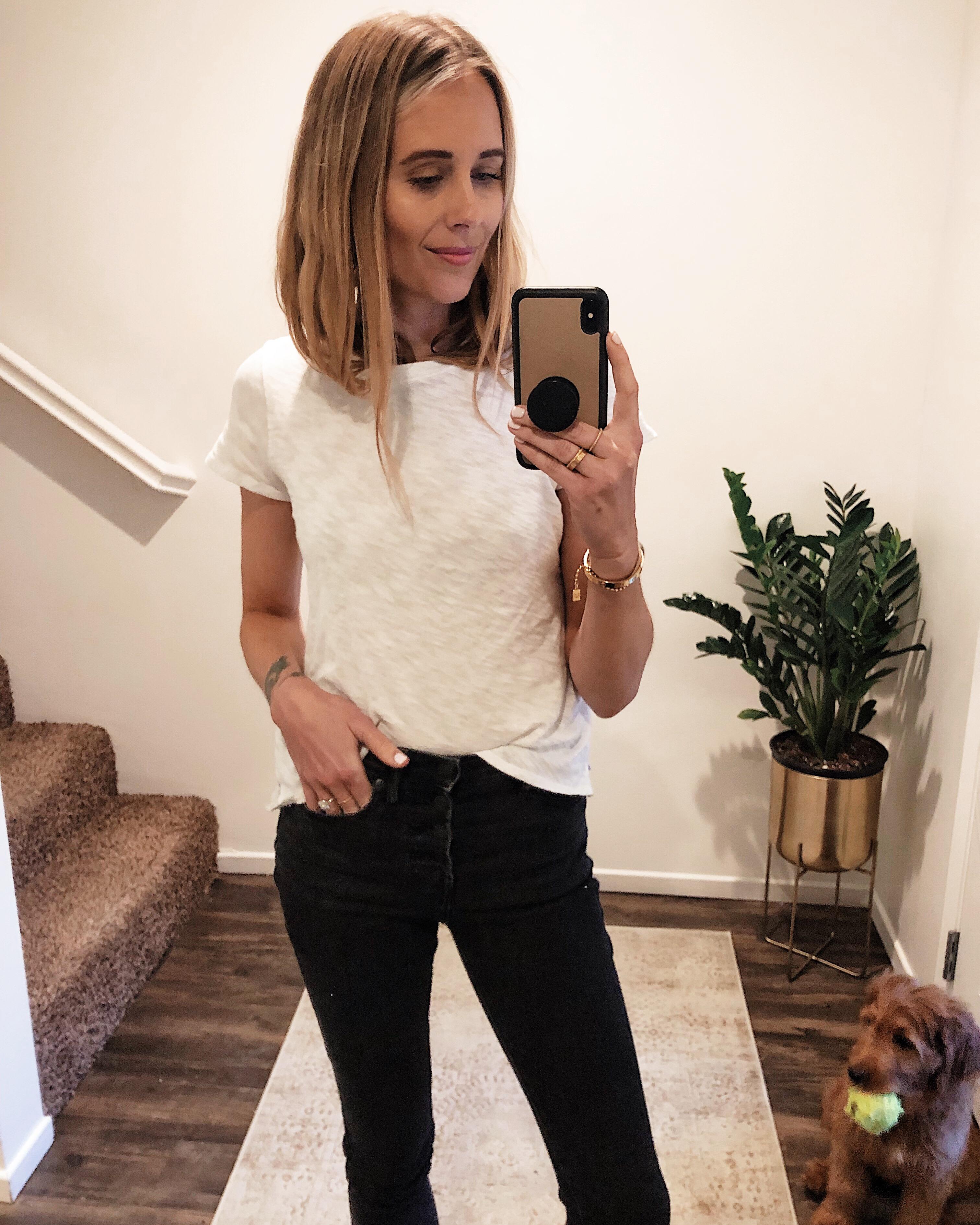 Fashion Jackson Wearing ATM White Tshirt Black Skinny Jeans