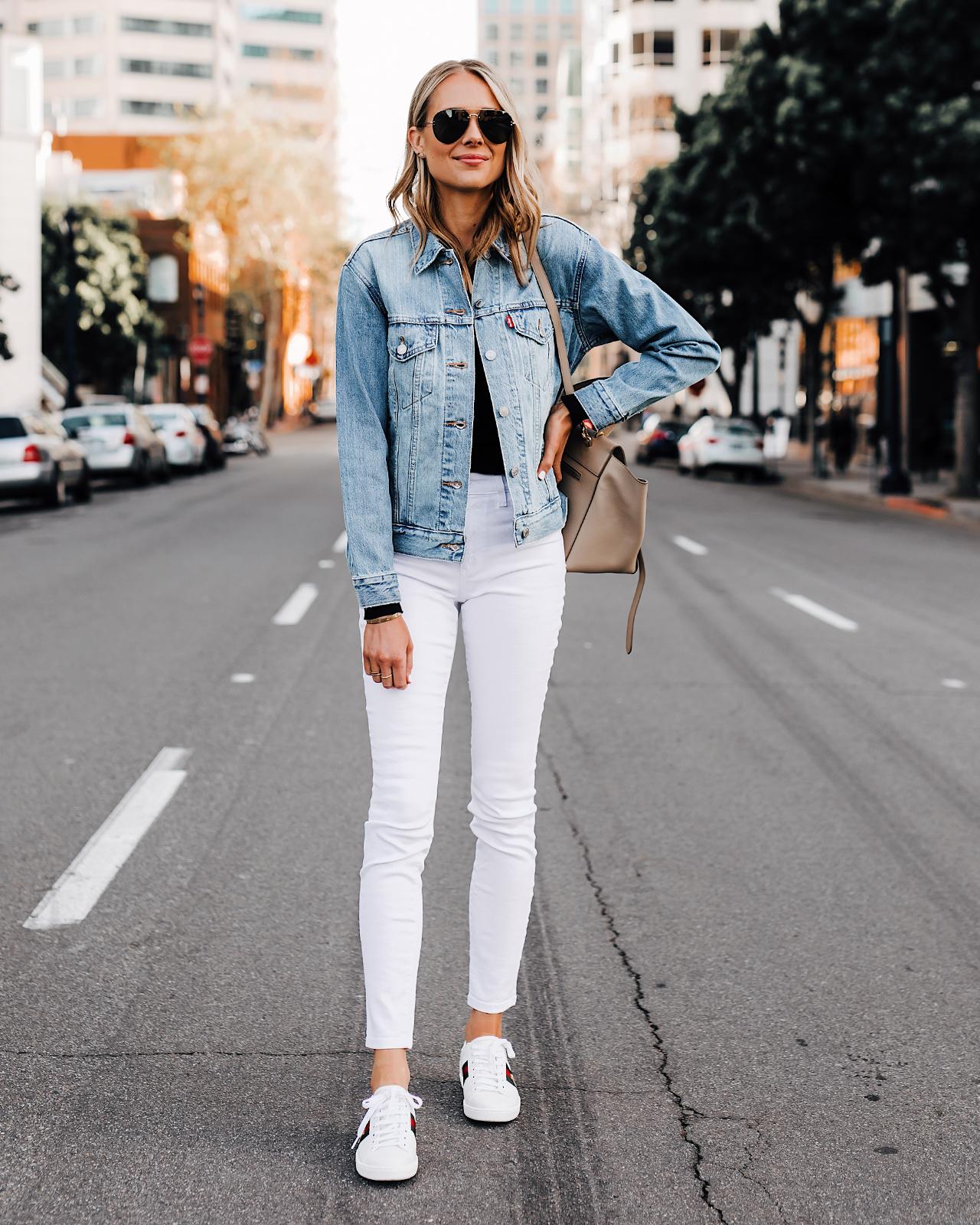Fashion Jackson Wearing Levis Denim Jacket White Skinny Jeans