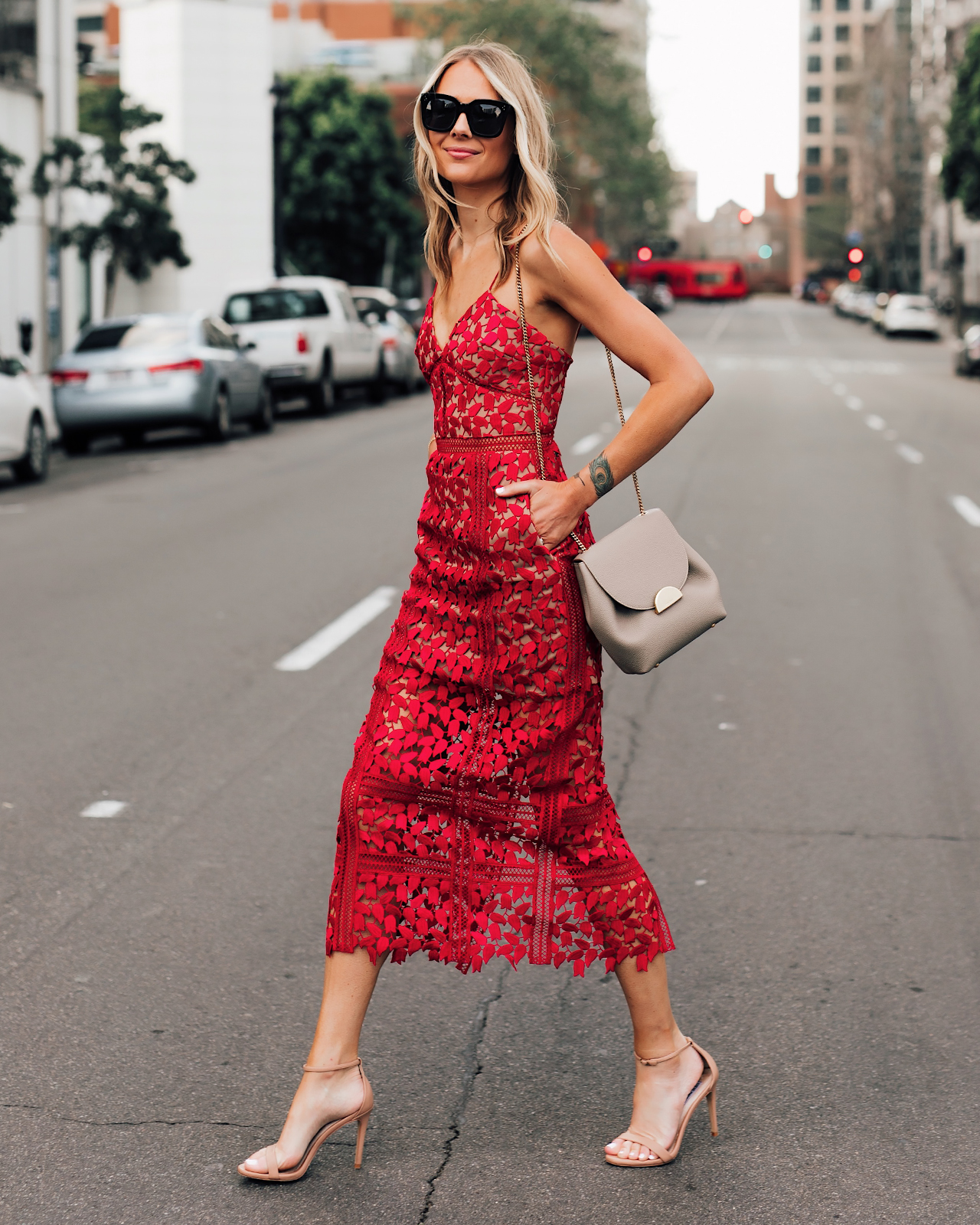 Fashion Jackson Wearing Self Portrait Red Lace Dress