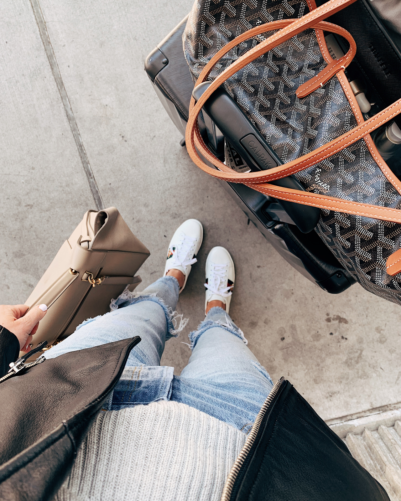 Fashion Jackson Airport Style Ripped Jeans Gucci Sneakers Goyard Tote Calpak Luggage