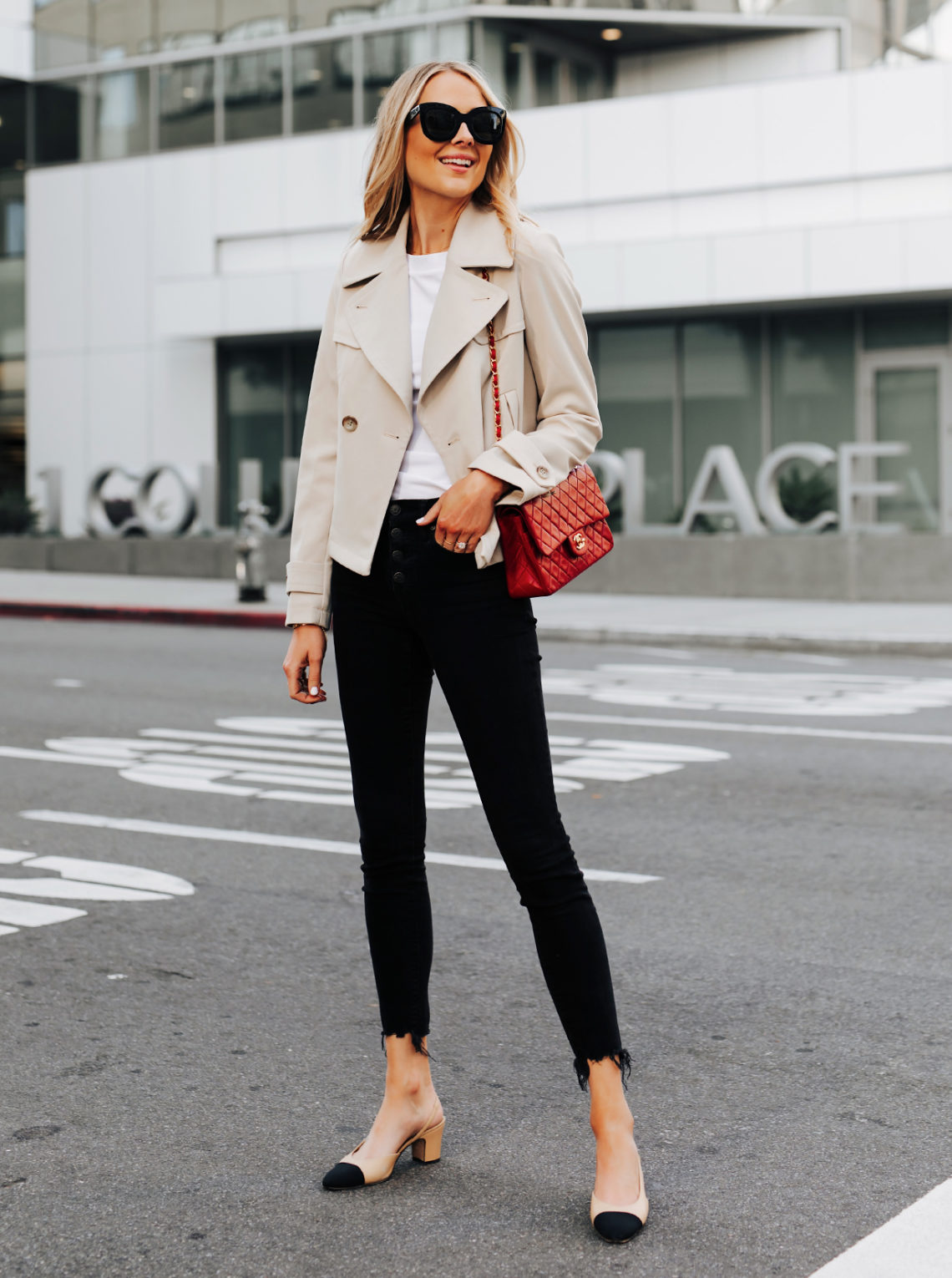 Fashion Jackson Ann Taylor Cropped Trench Coat Black Raw Hem Skinny Jeans Chanel Slingbacks Chanel Red Handbag Featured Image