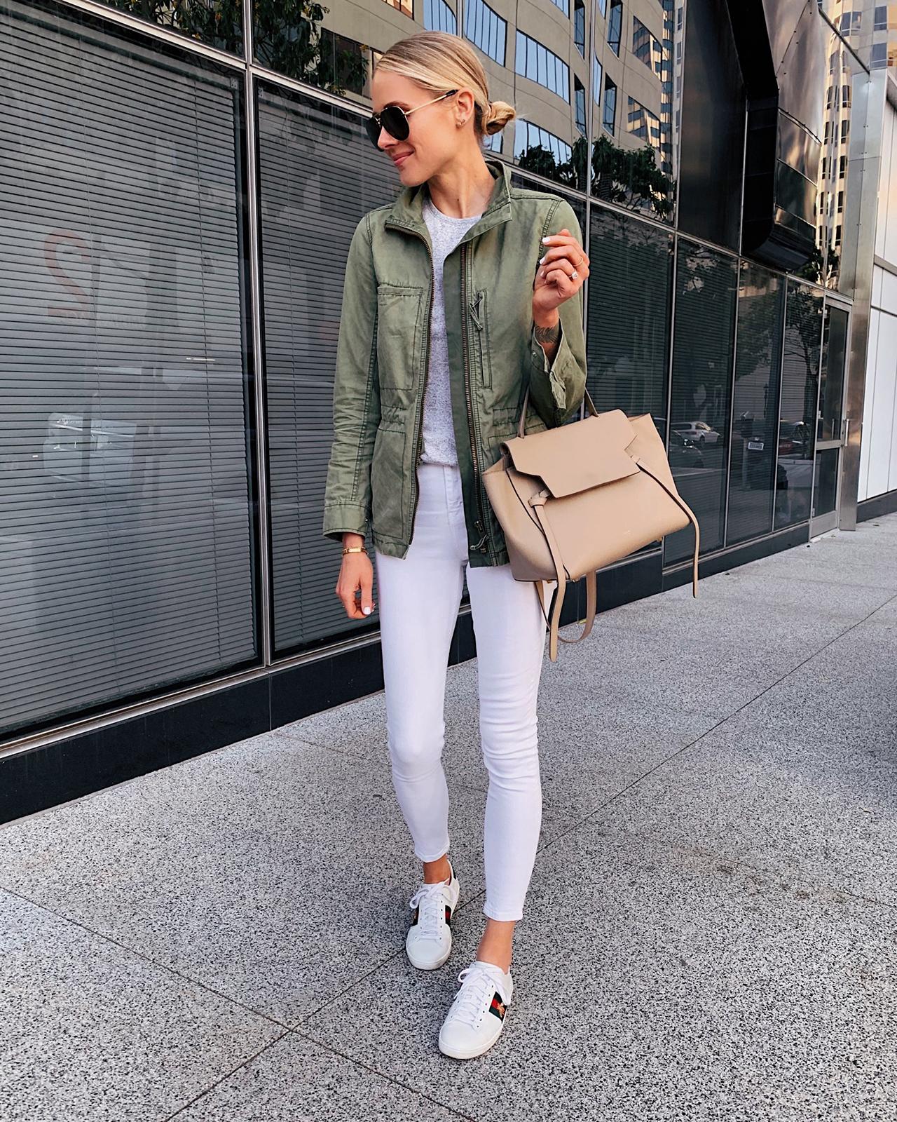 Fashion Jackson Green Utility Jacket Grey Tshirt White Skinny Jeans Gucci Sneakers Celine Mini Belt Bag