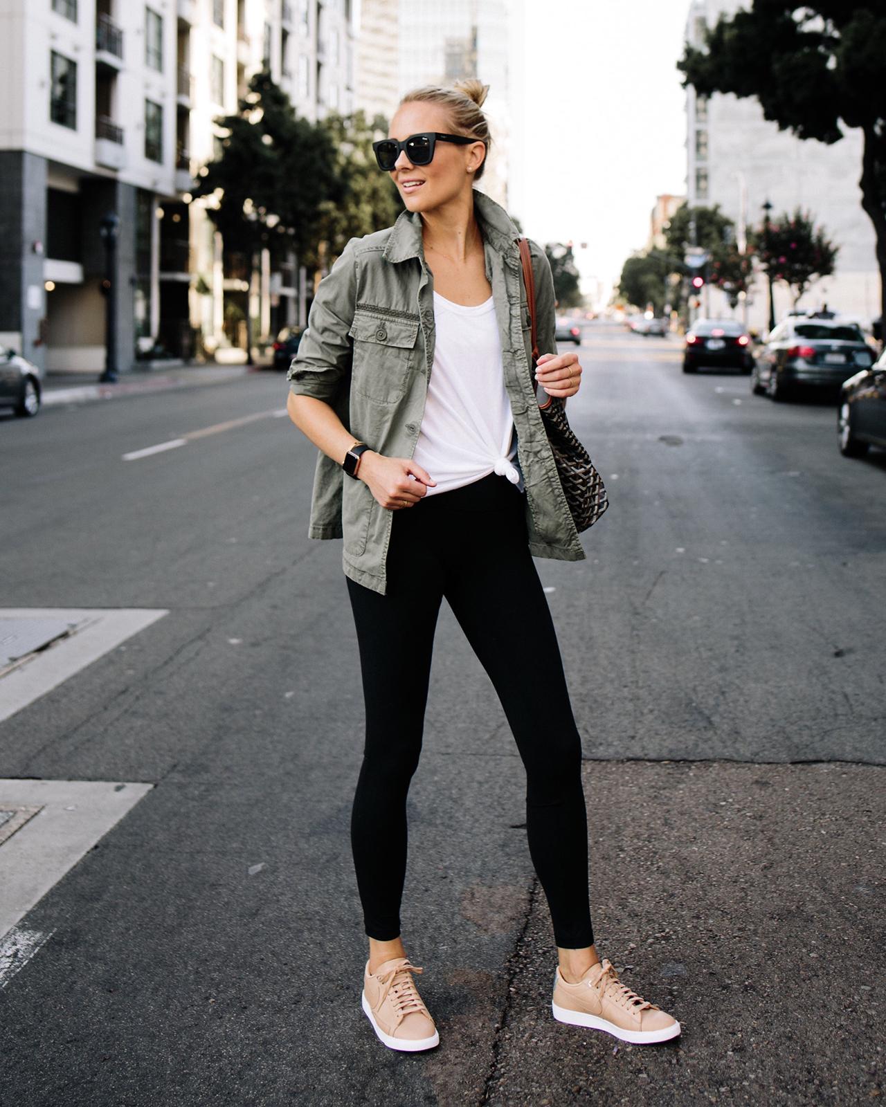 Fashion Jackson Green Utility Jacket White Tshirt Black Leggings Beige Nike Sneakers Goyard Tote