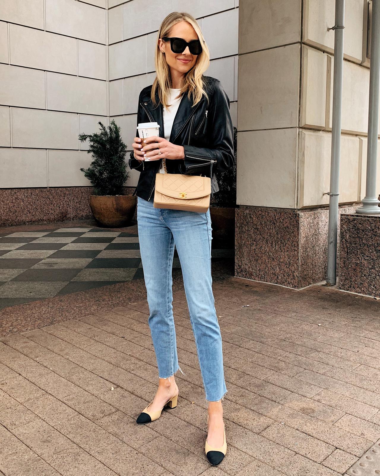 Fashion Jackson Topshop Black Leather Jacket White Top Frame Raw Hem Jeans Chanel Slingbacks Chanel Beige Classic Handbag