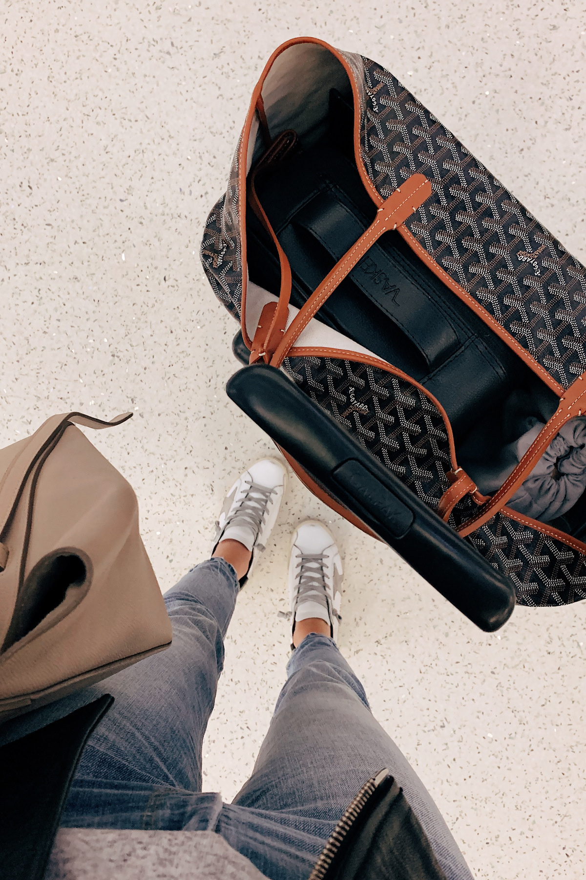 Fashion Jackson Travel Outfit Goyard Tote Airport Style