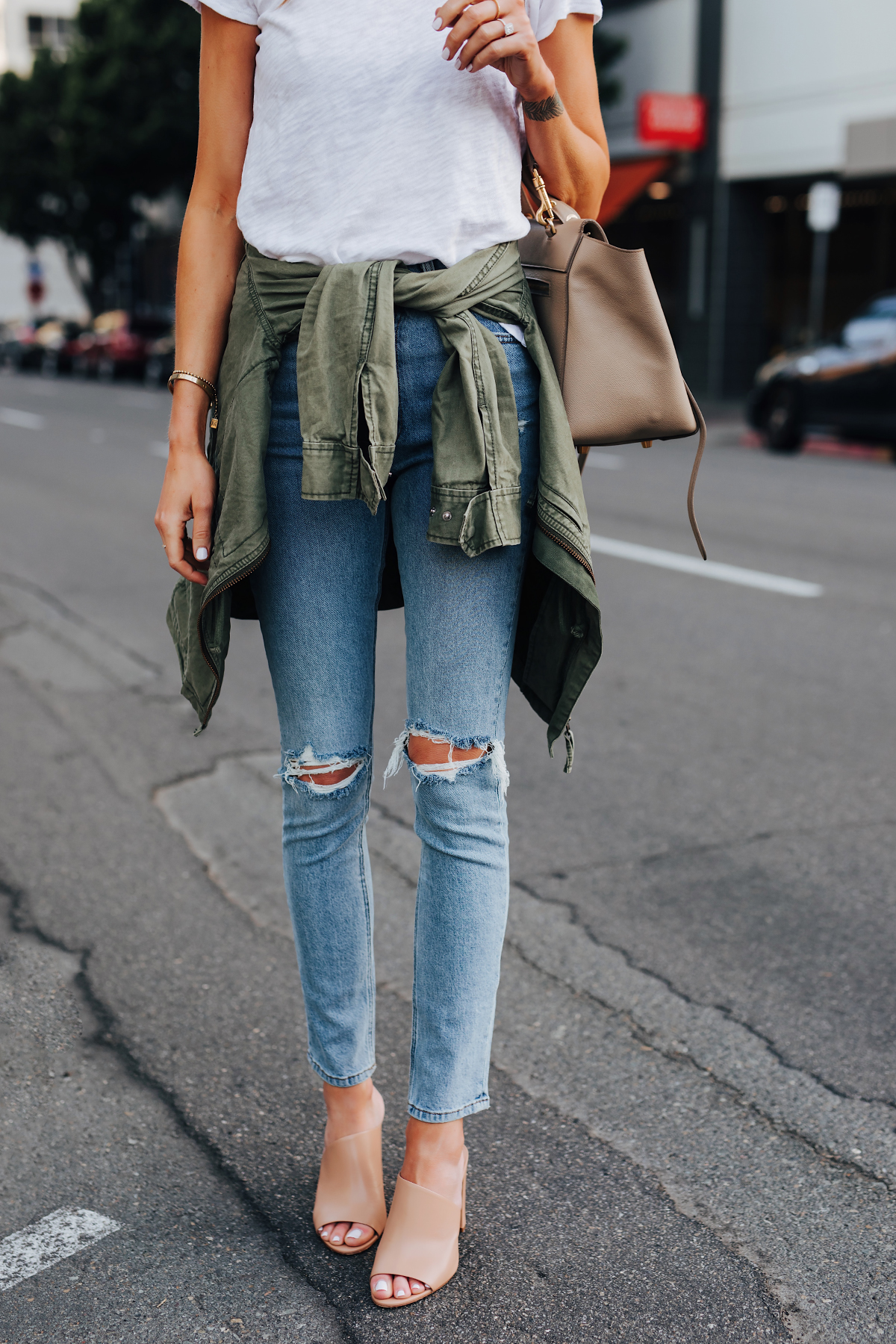Woman Wearing ATM White Tshirt Ripped Skinny Jeans Green Utility Jacket Vince Hanna Nude Heeled Mules Fashion Jackson San Diego Fashion Blogger Street Style
