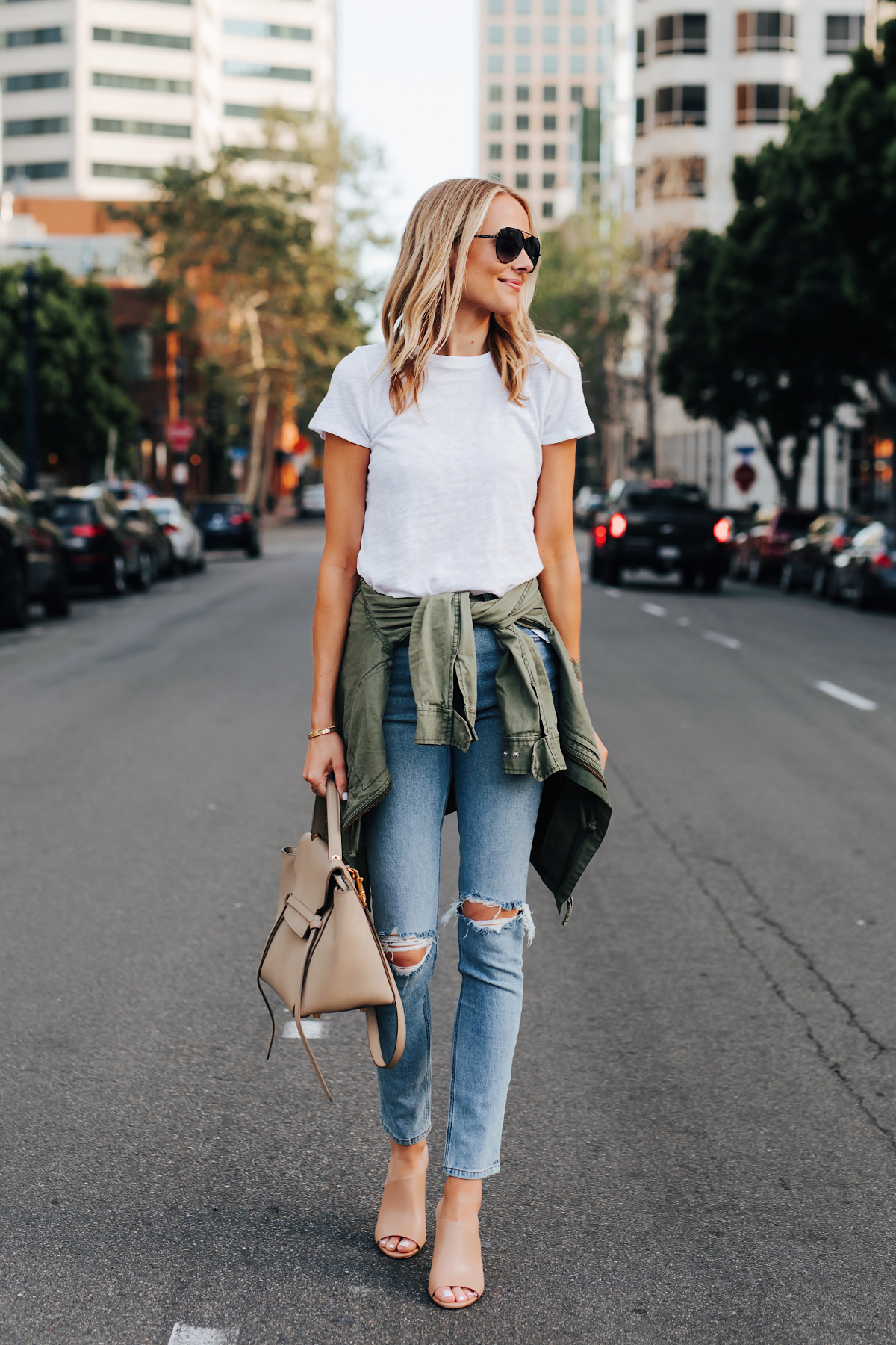 Blonde Woman Wearing ATM White Tshirt Ripped Skinny Jeans Green Utility Jacket Vince Hanna Nude Heeled Mules Celine Mini Belt Bag Fashion Jackson San Diego Fashion Blogger Street Style