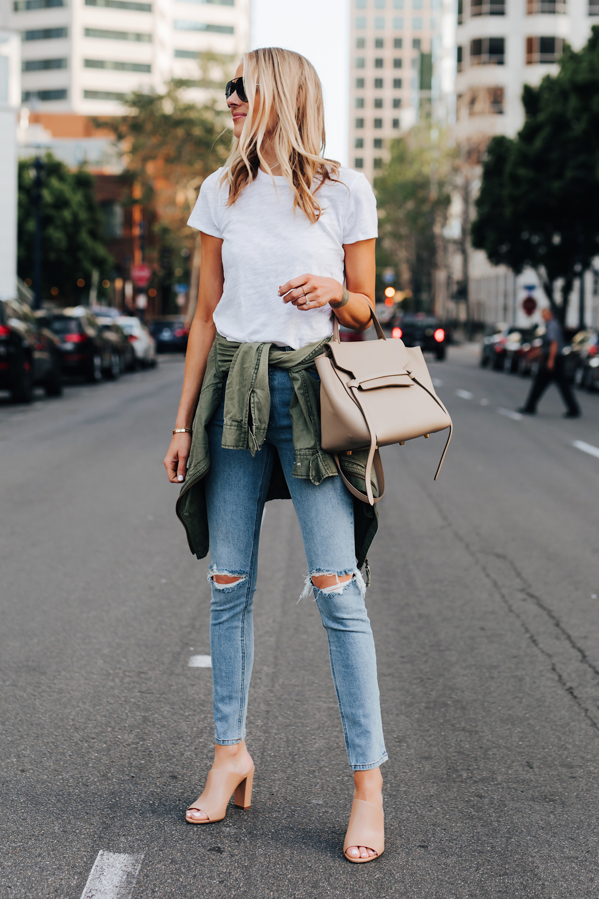 Blonde Woman Wearing ATM White Tshirt Ripped Skinny Jeans Green Utility Jacket Vince Hanna Nude Heeled Mules Fashion Jackson San Diego Fashion Blogger Street Style