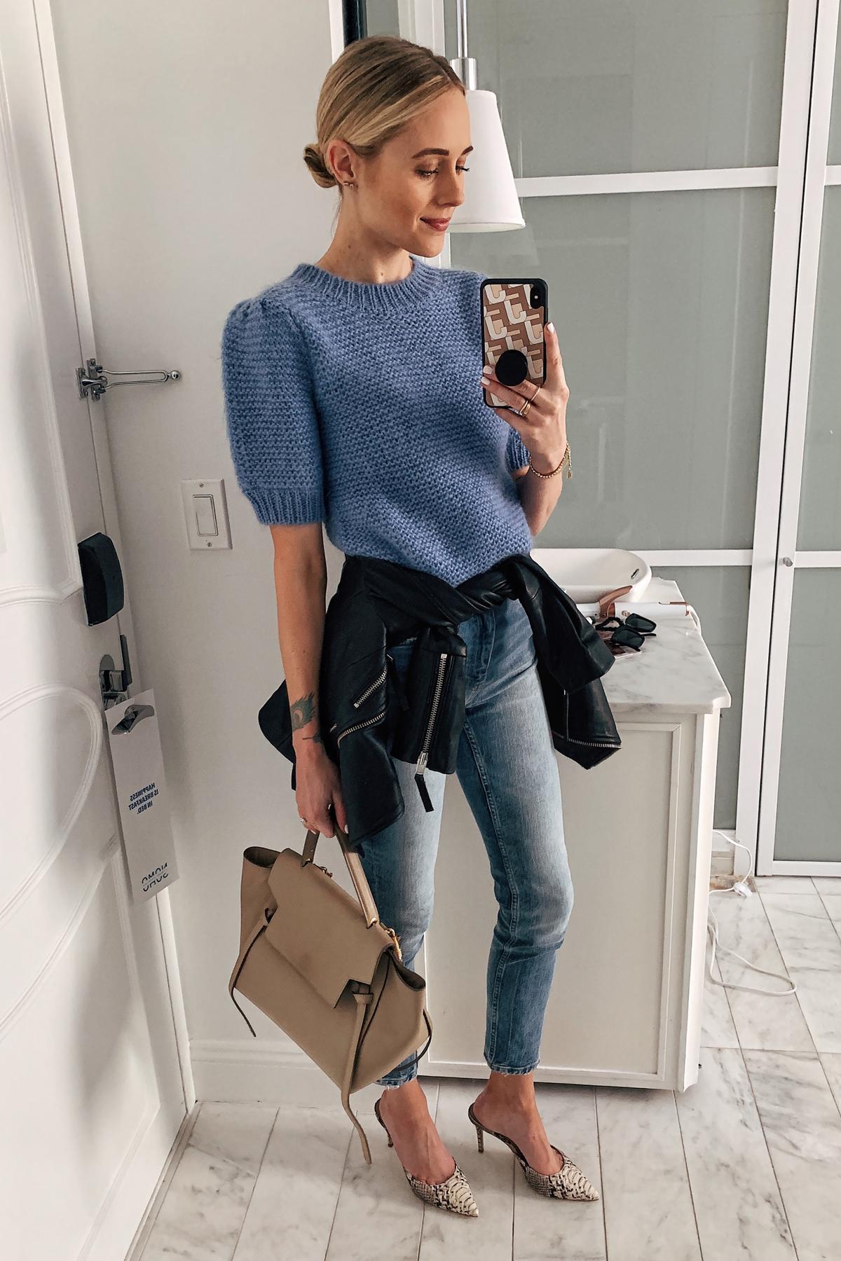 Fashion Jackson Wearing Anine Bing Blue Sweater Denim Skinny Jeans Black Leather Jacket Snakeskin Pumps Celine Mini Belt Bag