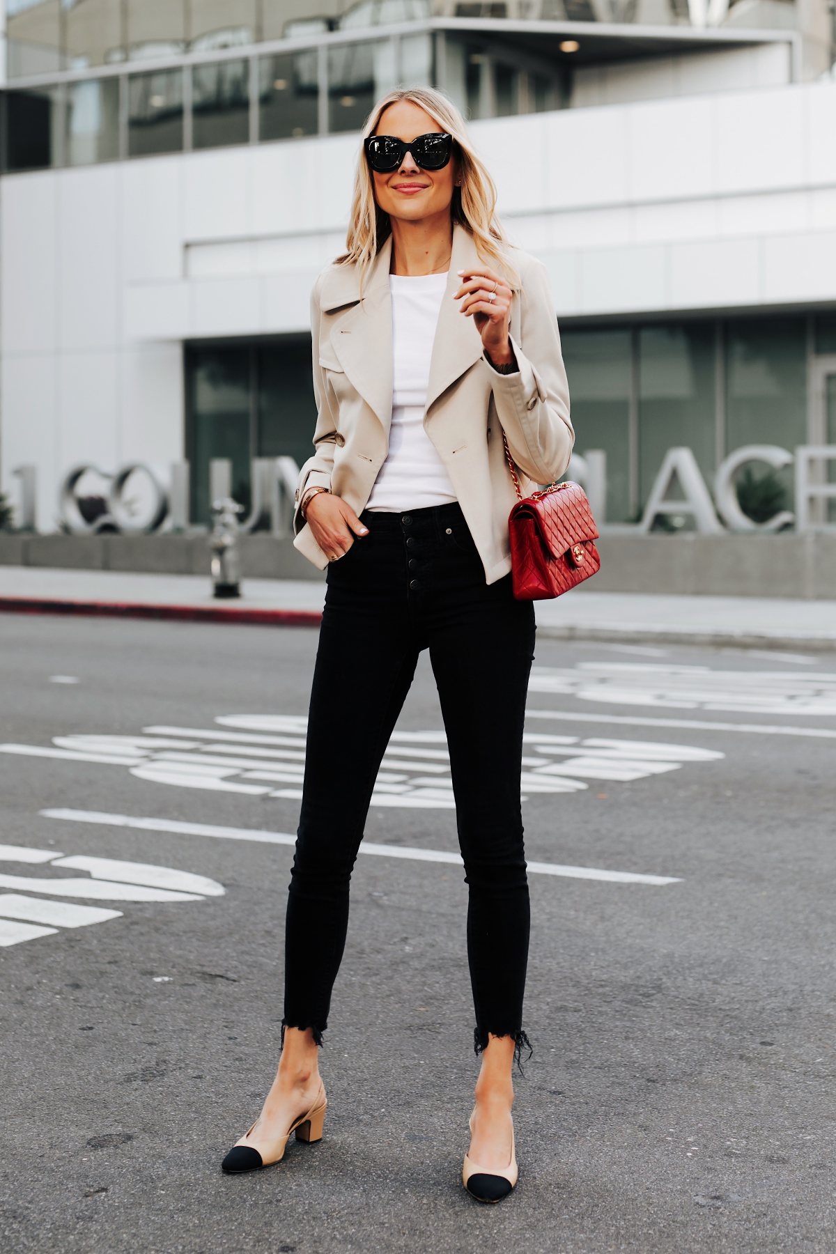 Blonde Woman Wearing Ann Taylor Cropped Trench Coat Black Raw Hem Skinny Jeans Chanel Slingbacks Chanel Red Handbag Fashion Jackson San Diego Fashion Blogger Street Style