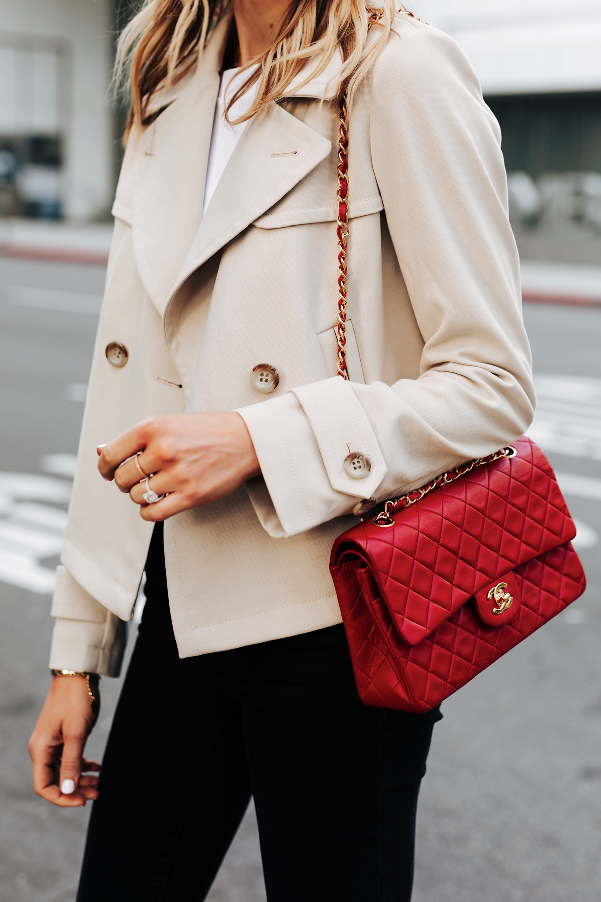 Woman Wearing Ann Taylor Short Trench Coat Black Jeans Red Chanel Classic Handbag Fashion Jackson San Diego Fashion Blogger Street Style