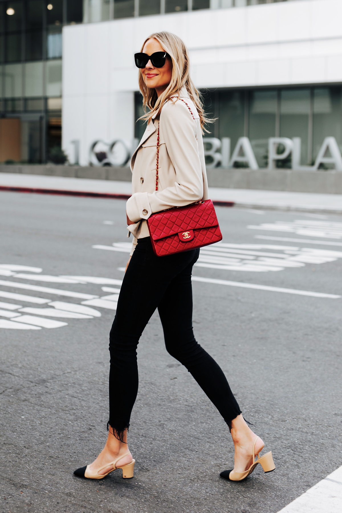 Blonde Woman Wearing Ann Taylor Short Trench Coat Black Skinny Jeans Chanel Slingbacks Red Chanel Classic Handbag Fashion Jackson San Diego Fashion Blogger Street Style