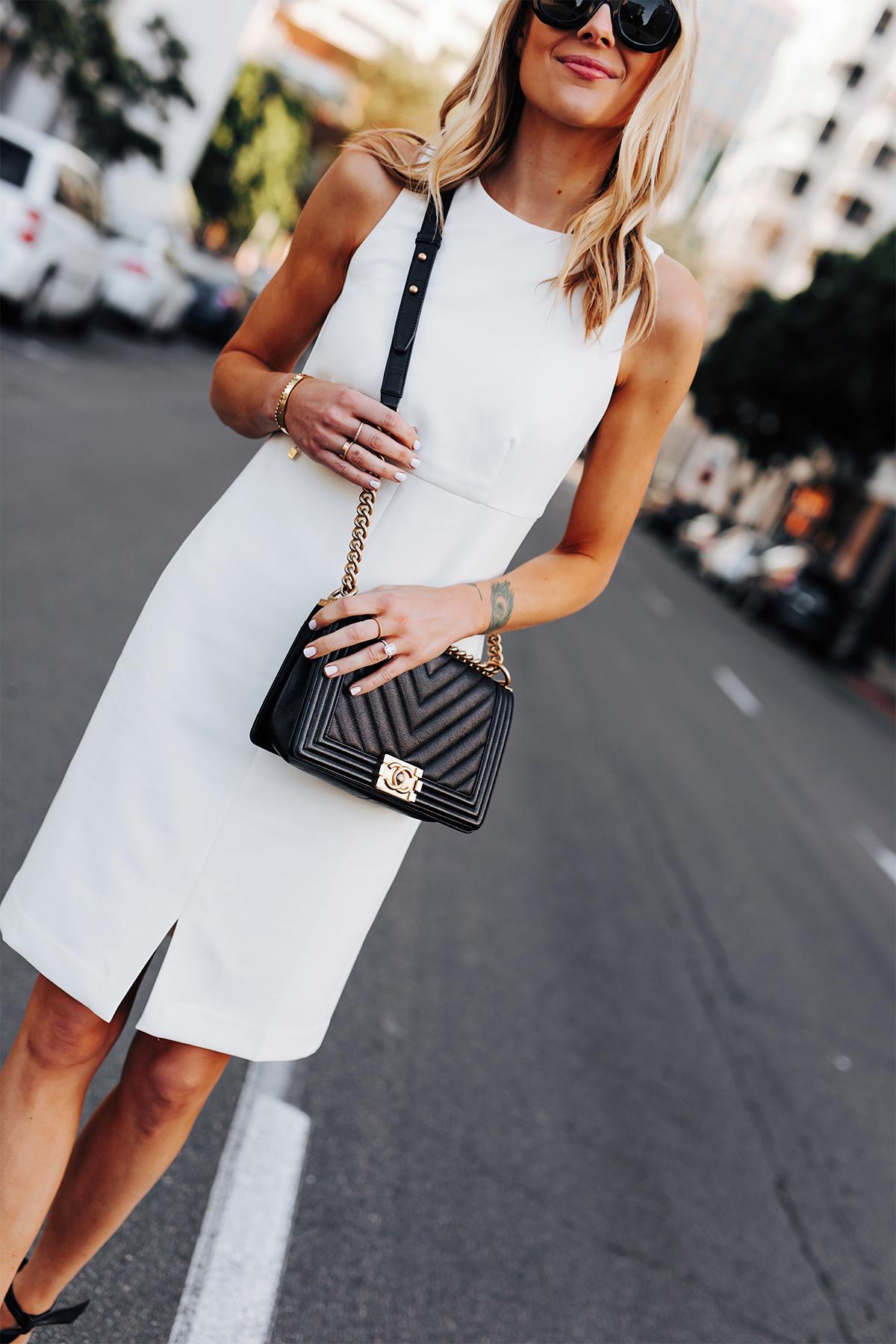 Blonde Woman Wearing Ann Taylor White Dress Chanel Black Boy Bag Fashion Jackson San Diego Fashion Blogger Street Style