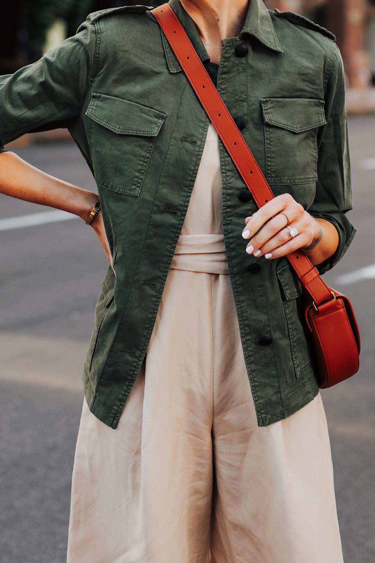 Woman Wearing Banana Republic Beige Linen Jumpsuit Green Utility Jacket Tan Crossbody Handbag Fashion Jackson San Diego Fashion Blogger Street Style