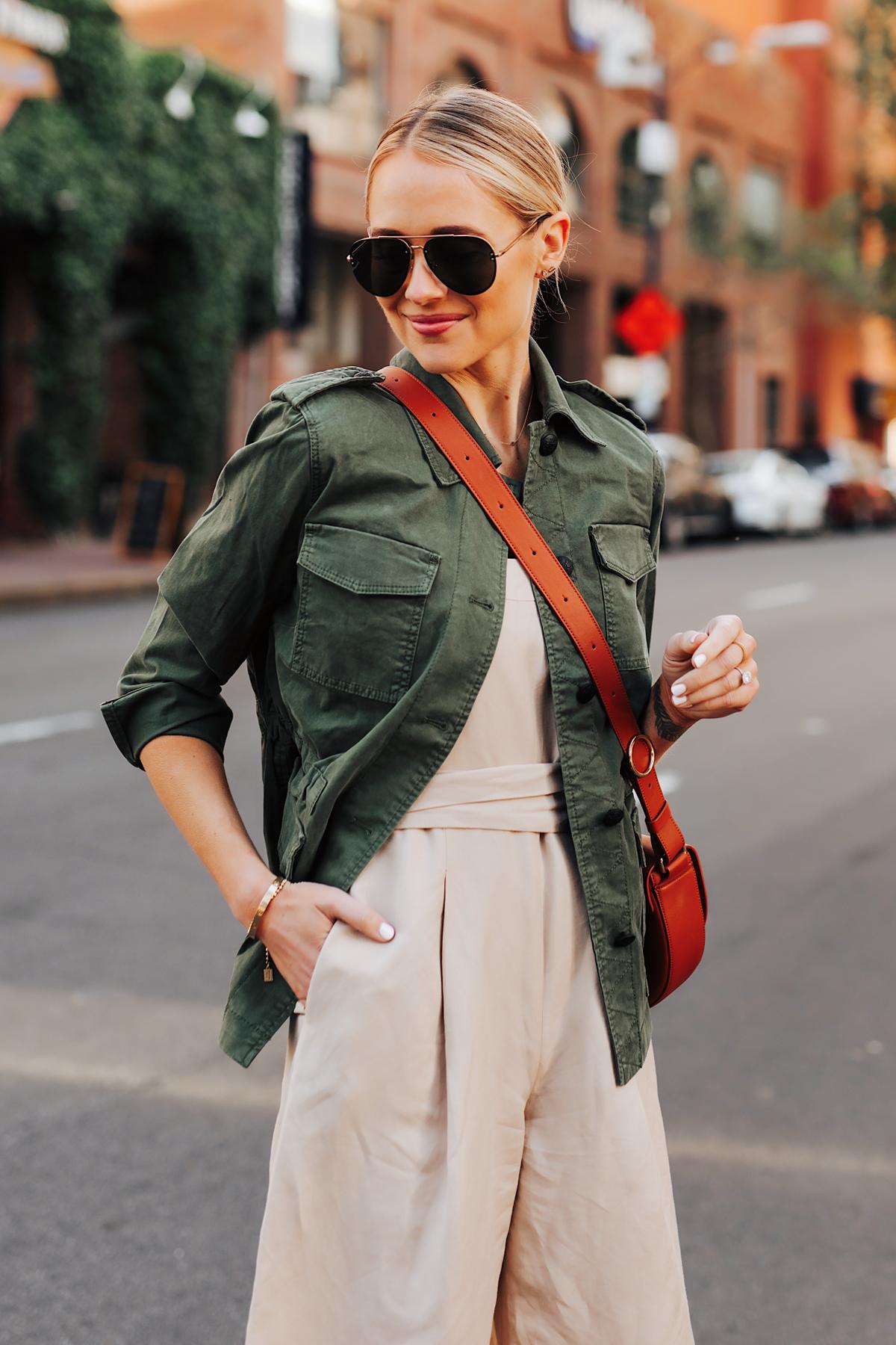 Blonde Woman Wearing Banana Republic Beige Linen Jumpsuit Green Utility Jacket Fashion Jackson San Diego Fashion Blogger Street Style